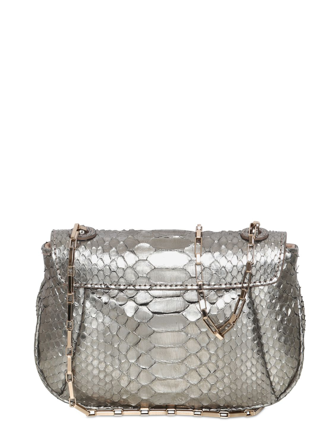 Zagliani Zoom Zoom Metallic Python Clutch in Metallic - Lyst
