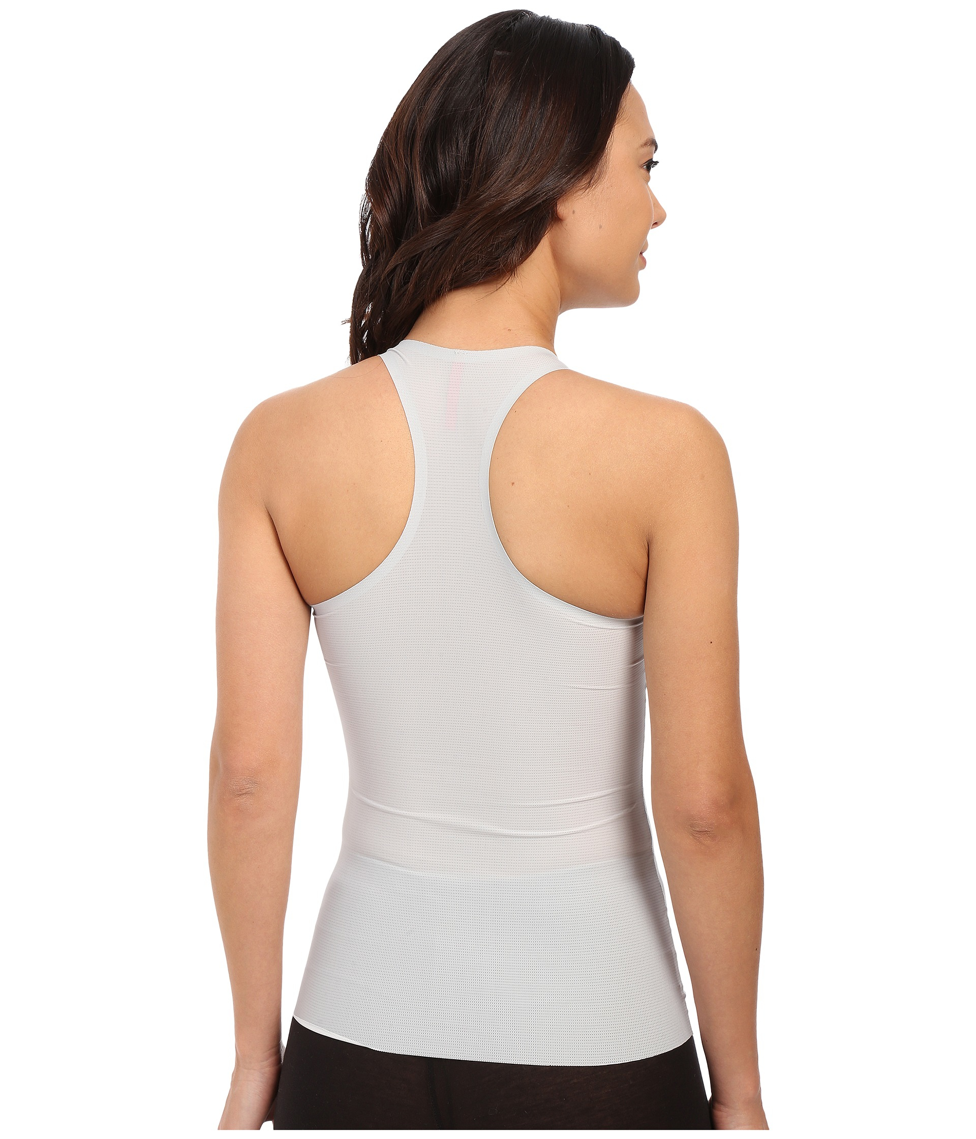 bfca2ce81251b Lyst - Spanx Perforated Racerback Tank Top in Gray