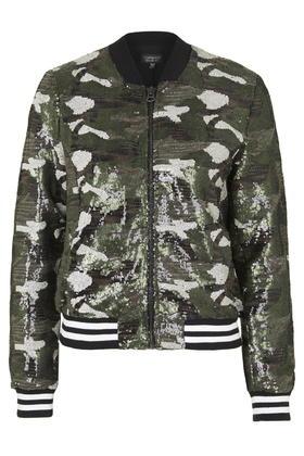 cd242b8c8 TOPSHOP Camo Sequin Bomber Jacket in Brown - Lyst