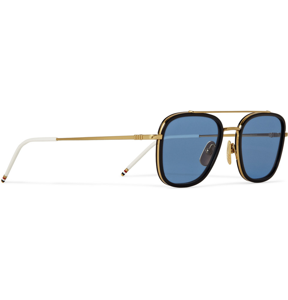 661aab6fb23 Lyst - Thom Browne Gold and Acetate Squareframe Sunglasses in Blue ...