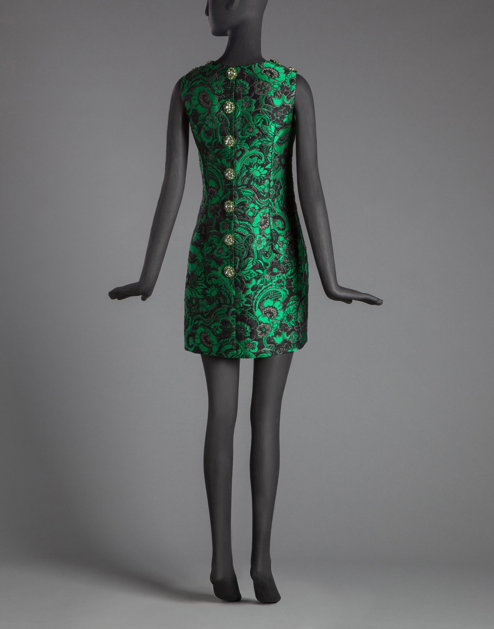 b678b34f Dolce & Gabbana Brocade Dress With Sequined Rose And Writing in ...