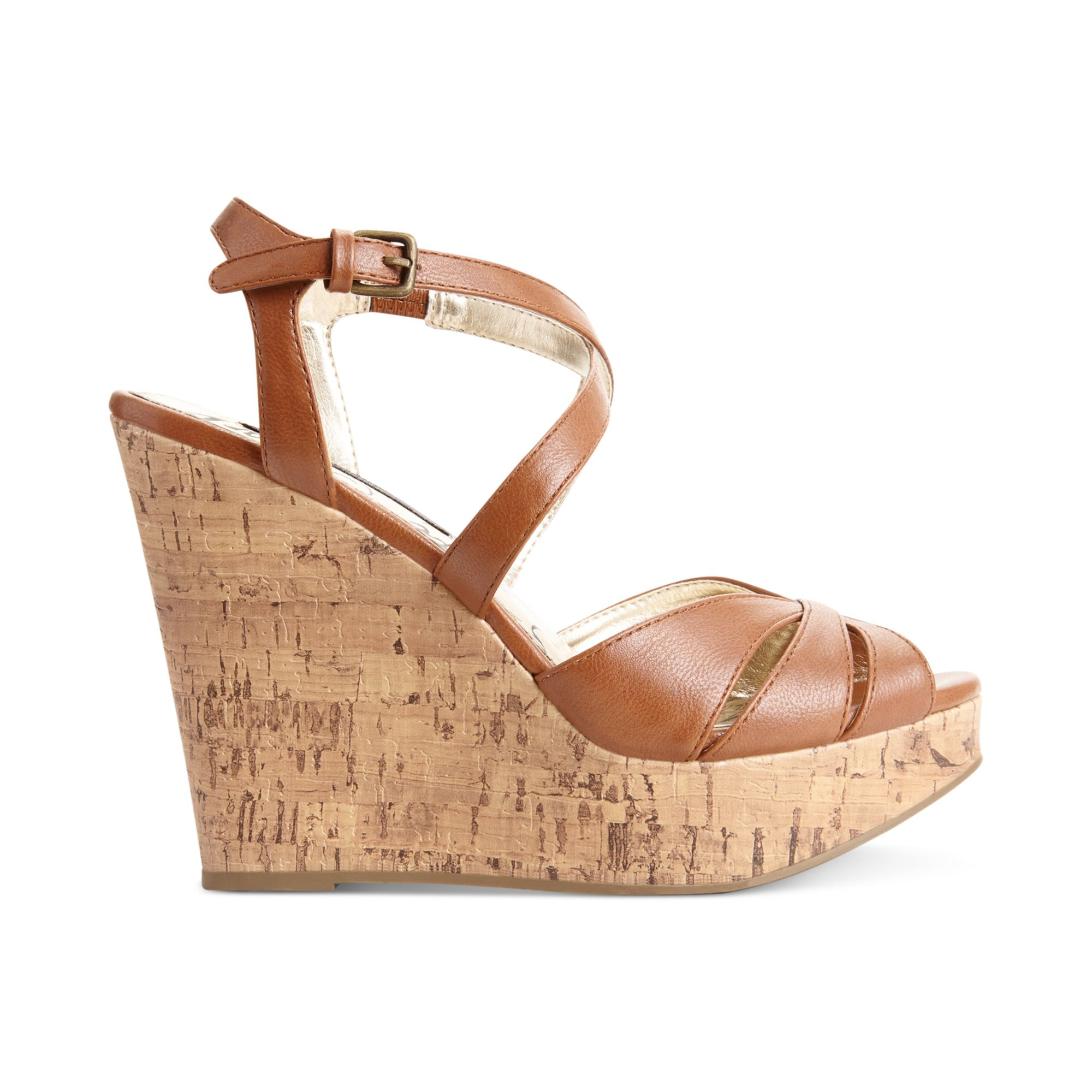 Material Girl Renee Cork Platform Wedge Sandals in Brown ...