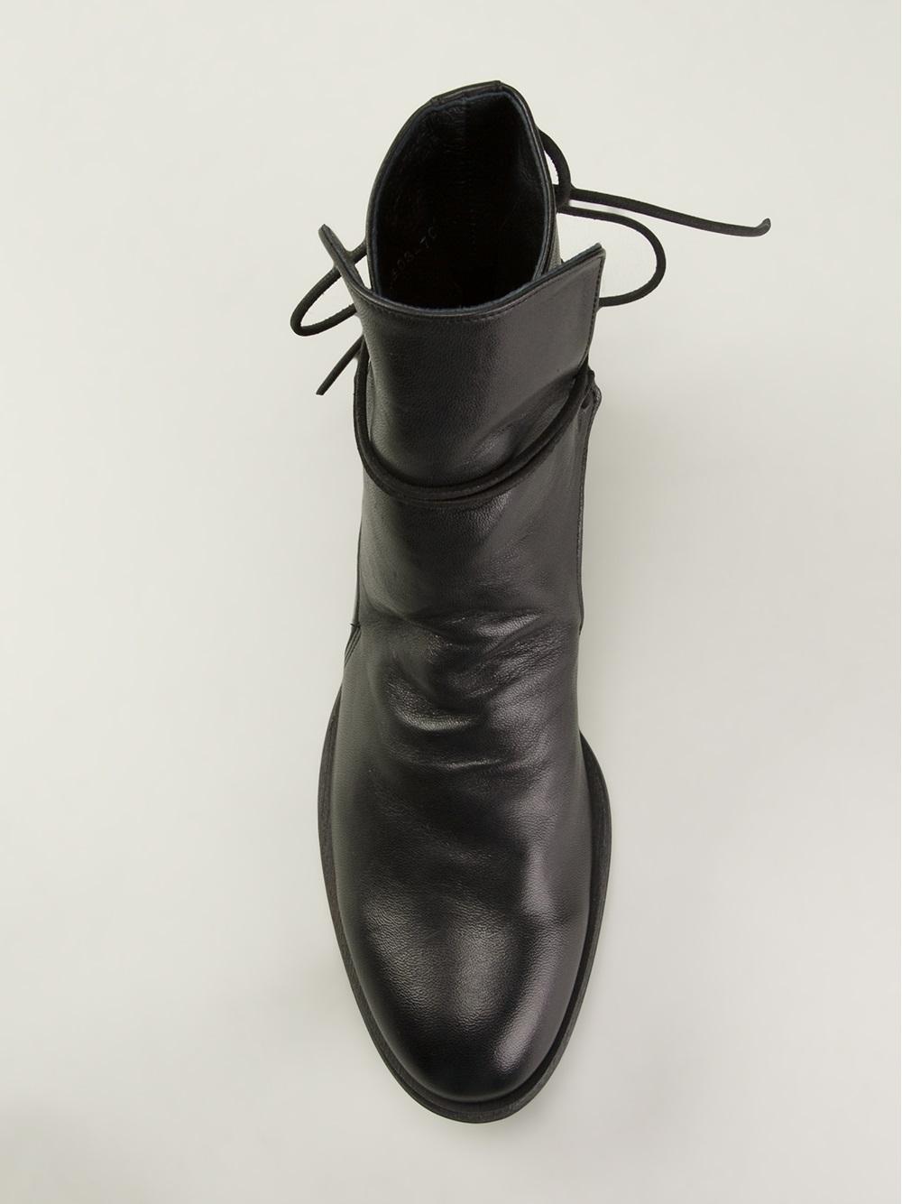 Y's Yohji Yamamoto Panel Detail Boots in Black