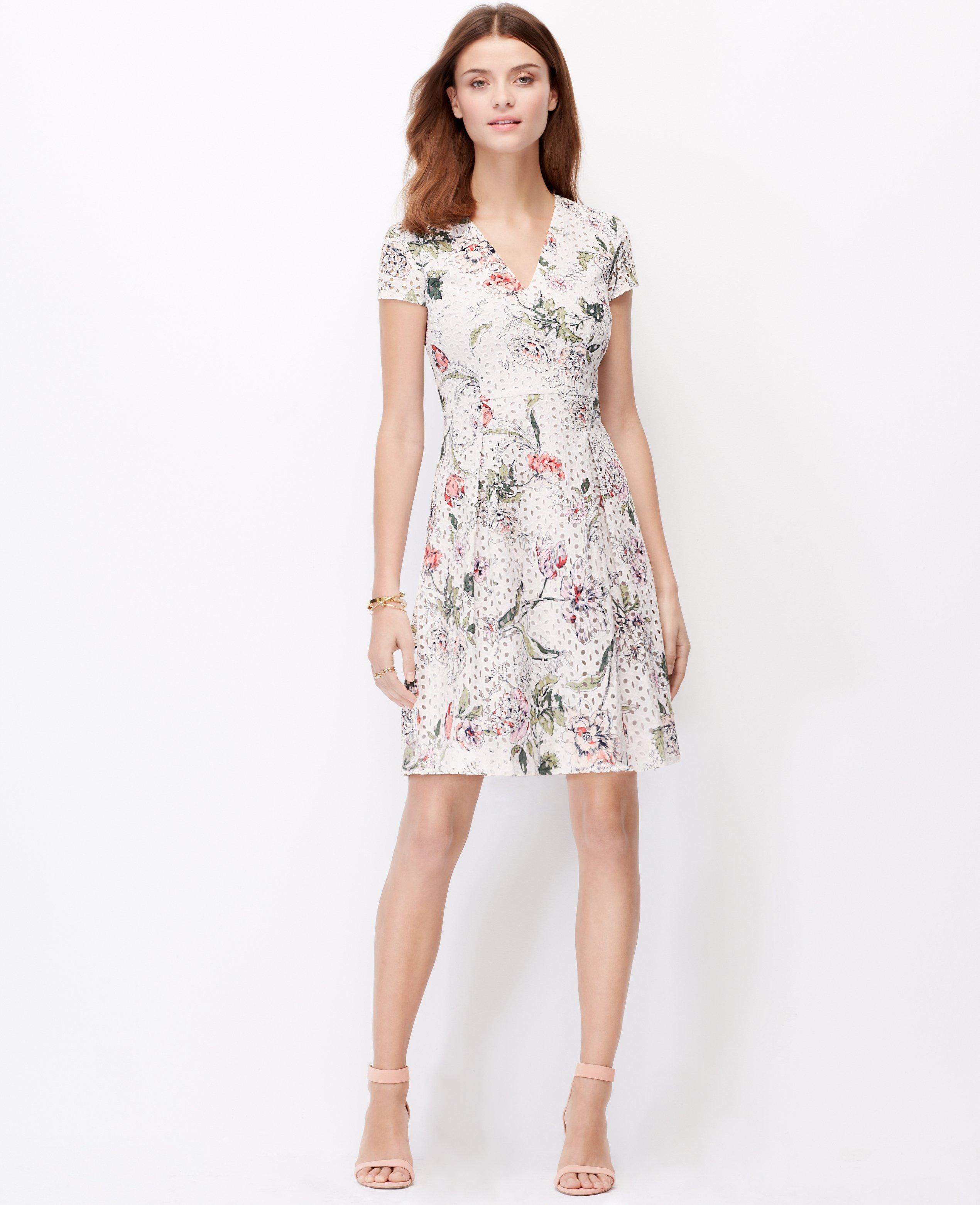 Lyst Ann Taylor Floral Eyelet Dress