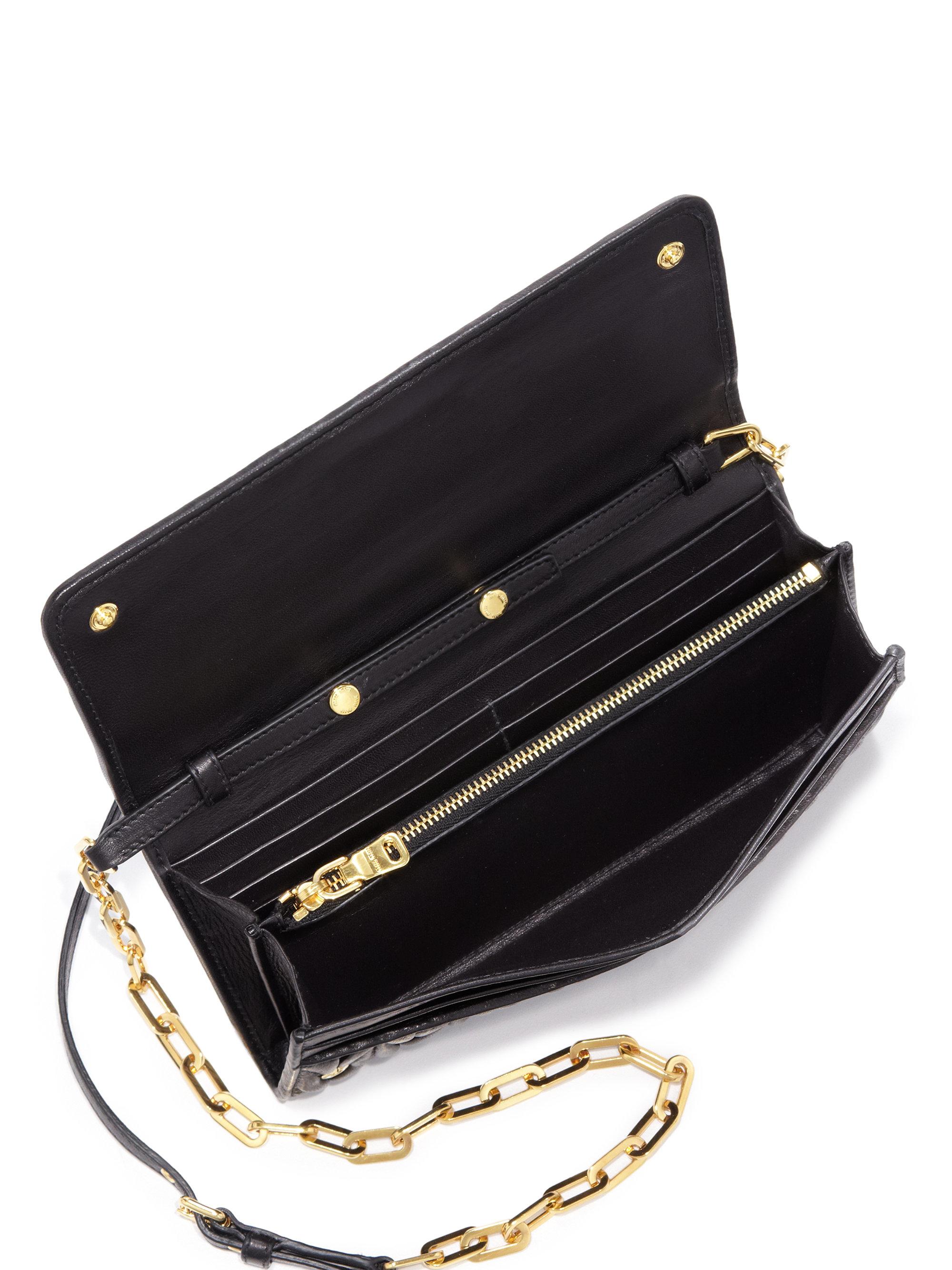 bd548e9df48c Lyst - Miu Miu Matelasse Leather Chain Wallet in Black
