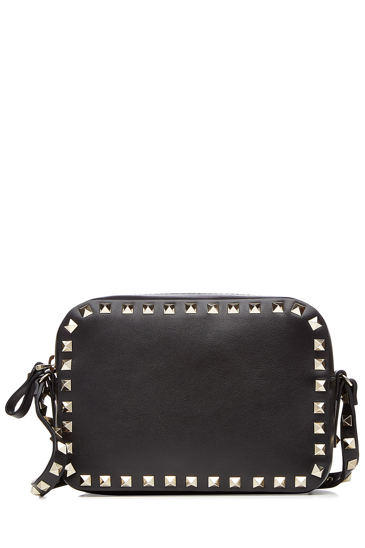 861c4089f0da Valentino Rockstud Leather Camera Bag - Black in Black