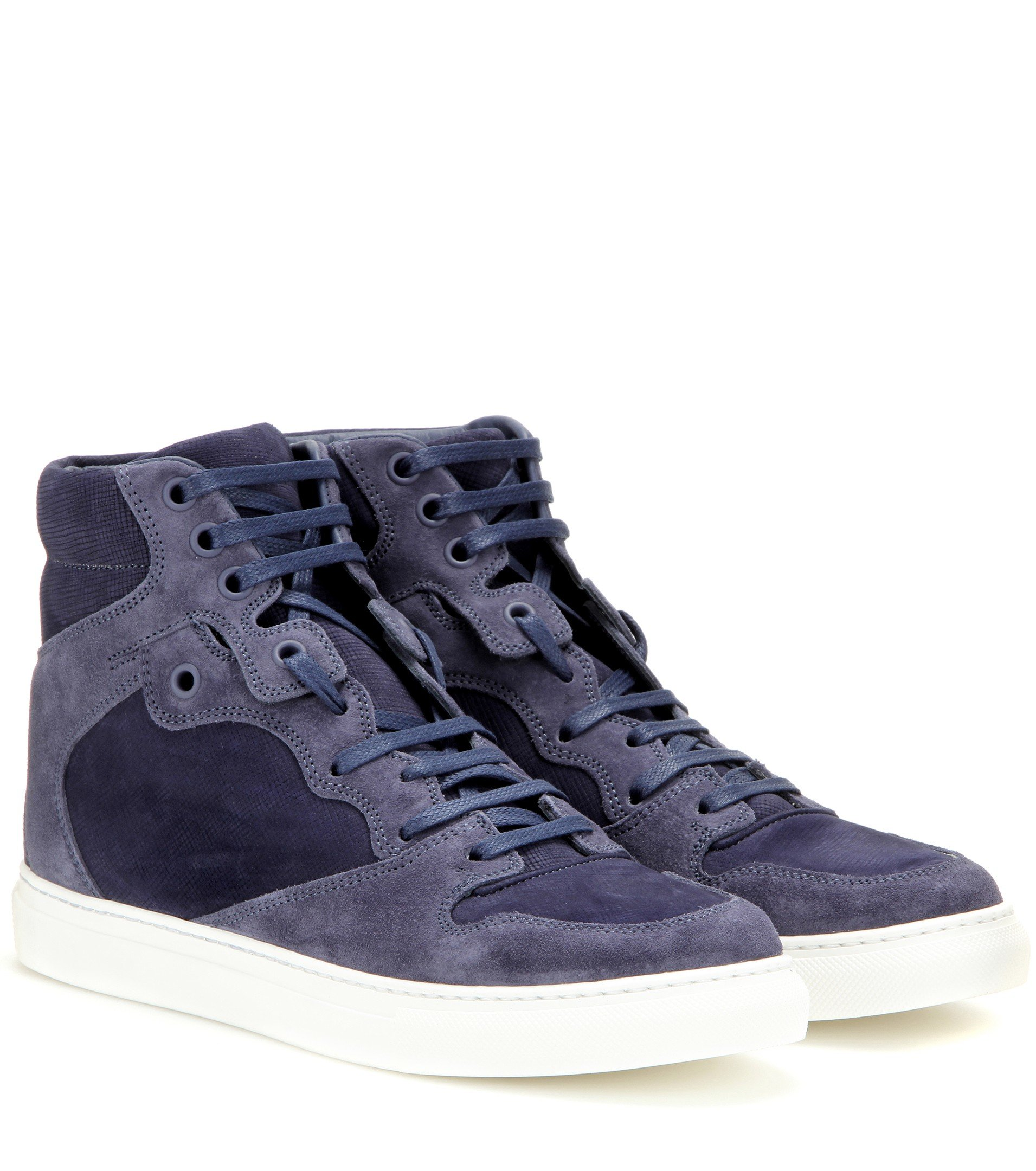 lyst balenciaga suede high top sneakers in blue. Black Bedroom Furniture Sets. Home Design Ideas