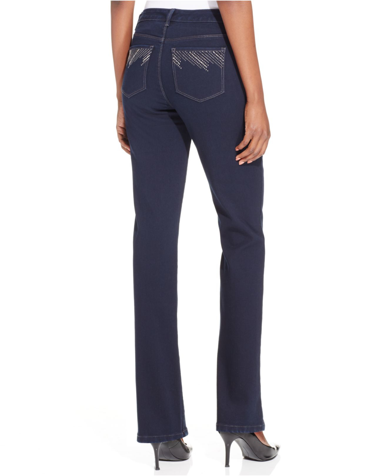 Style & co. Petite Tummy-control Embellished-pocket Jeans ...