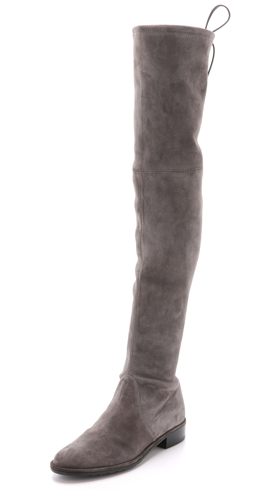 stuart weitzman lowland over the knee boots londra in gray londra lyst. Black Bedroom Furniture Sets. Home Design Ideas