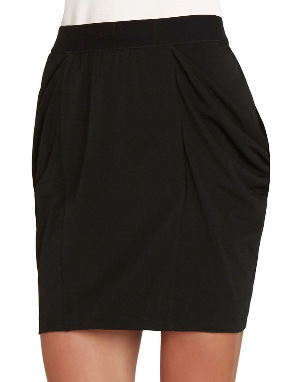bcbgeneration draped jersey pencil skirt in black lyst
