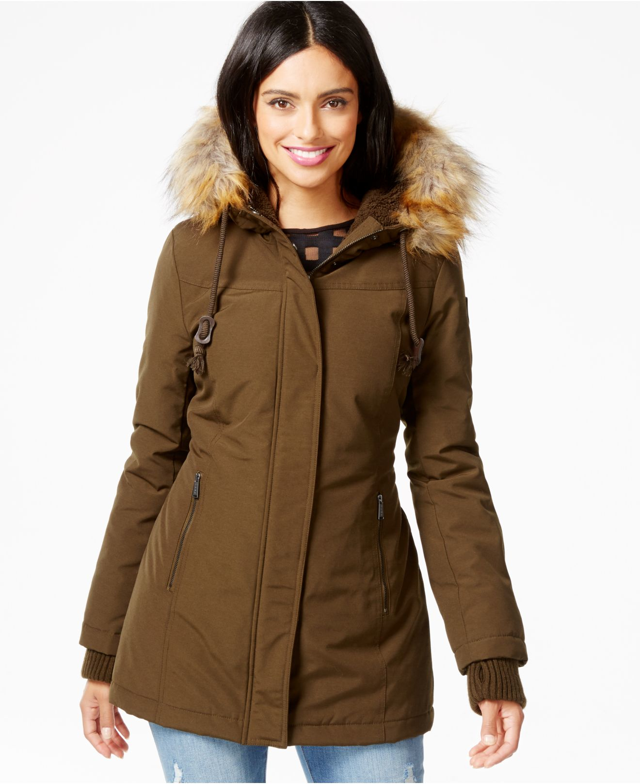 Dkny Faux-fur-trim Water-resistant Hooded Parka in Brown | Lyst