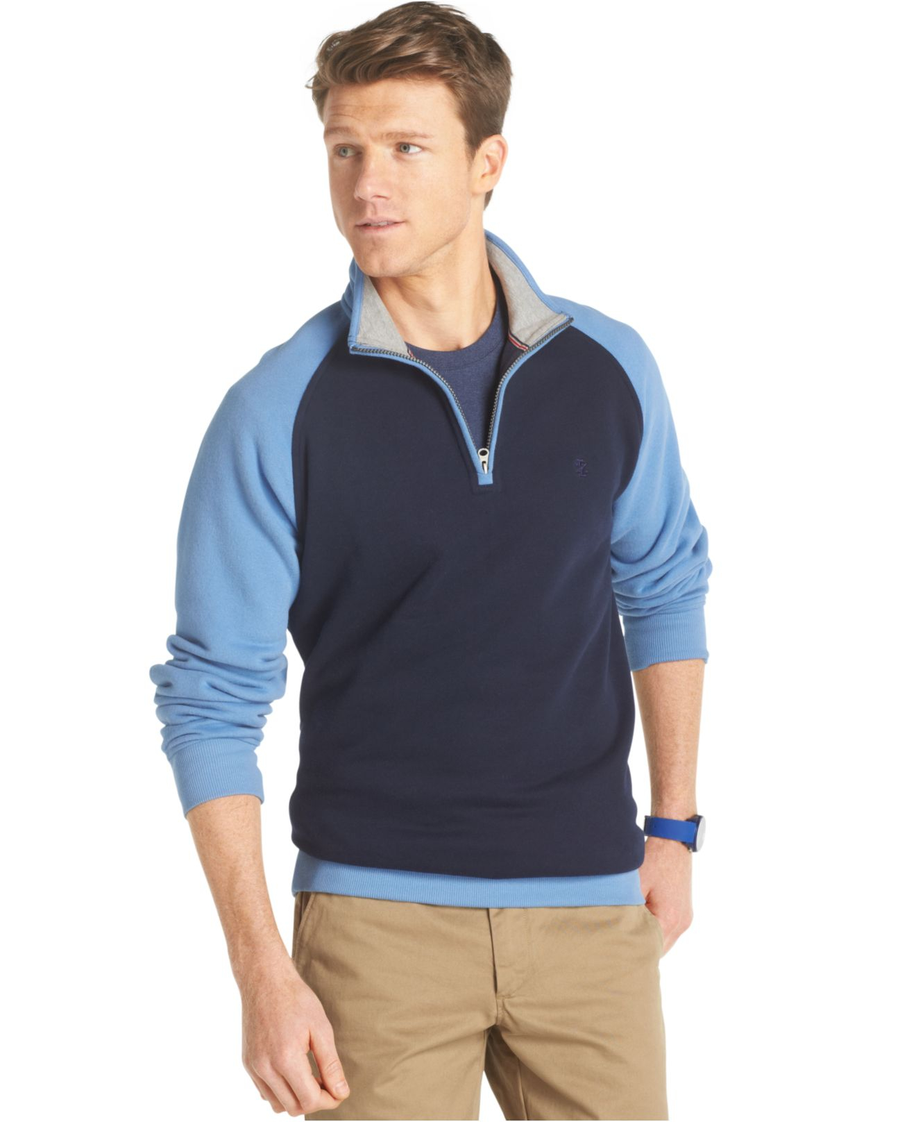 Lyst Izod Big And Tall Colorblocked Quarter Zip Fleece