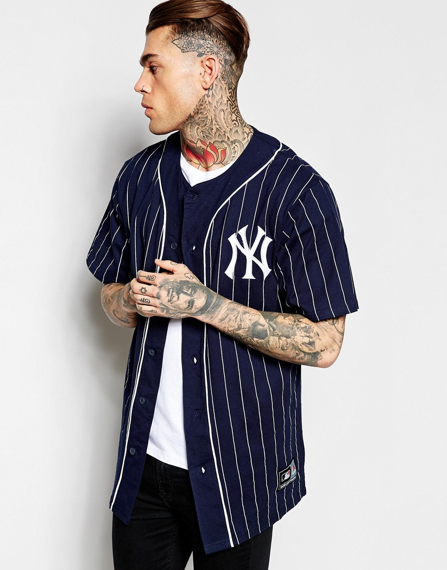 huge discount f43e3 f59f3 Men's Blue New York Yankees Longline Baseball Jersey Exclusive To Asos