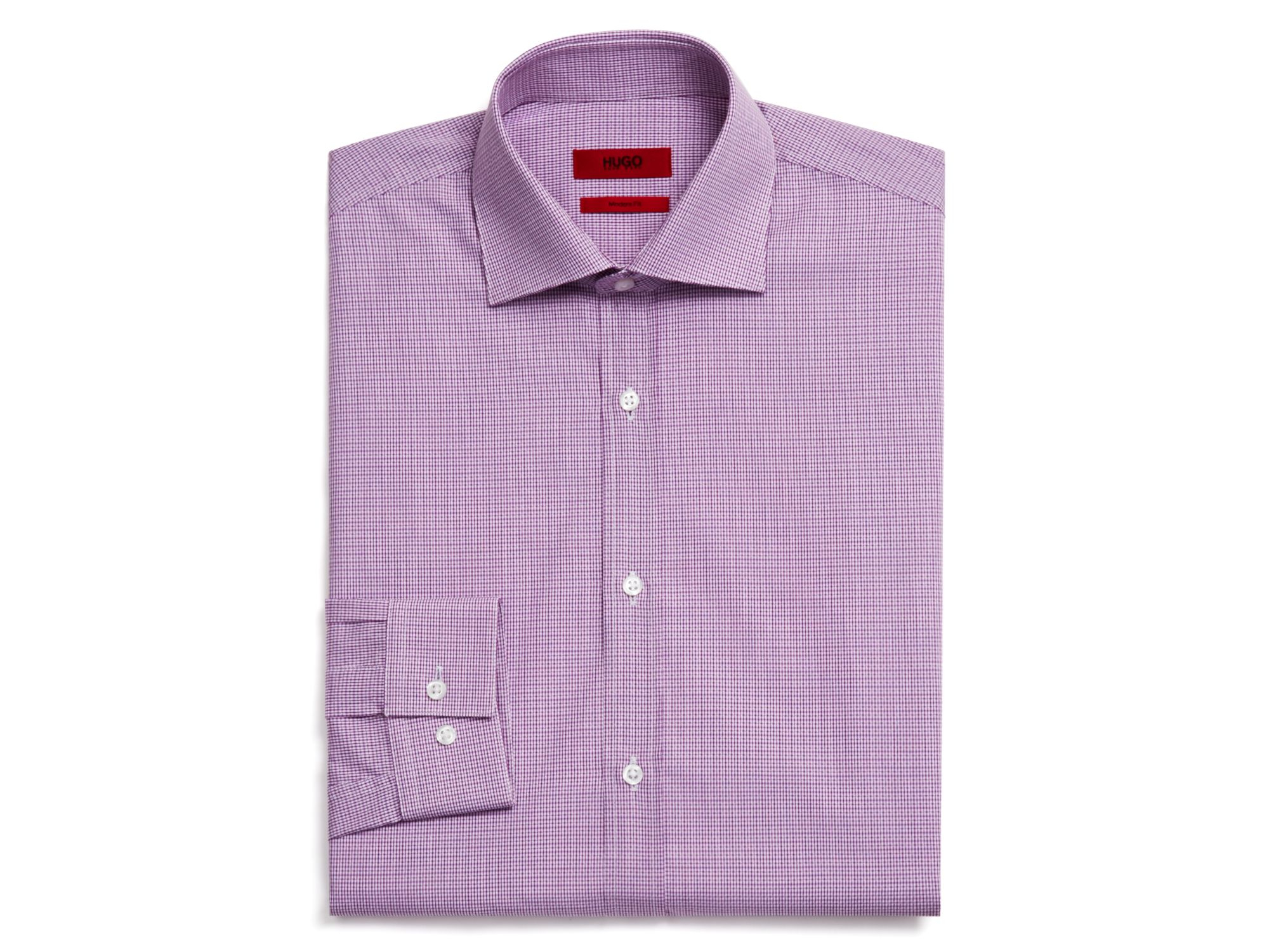 Boss hugo enderson x light check dress shirt regular fit Light purple dress shirt men