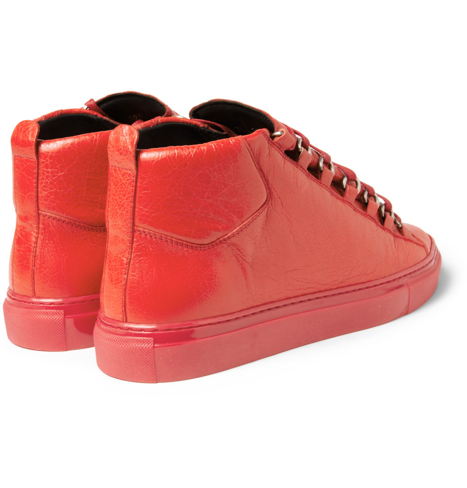 Balenciaga Arena Creasedleather Sneakers In Red For Men Lyst