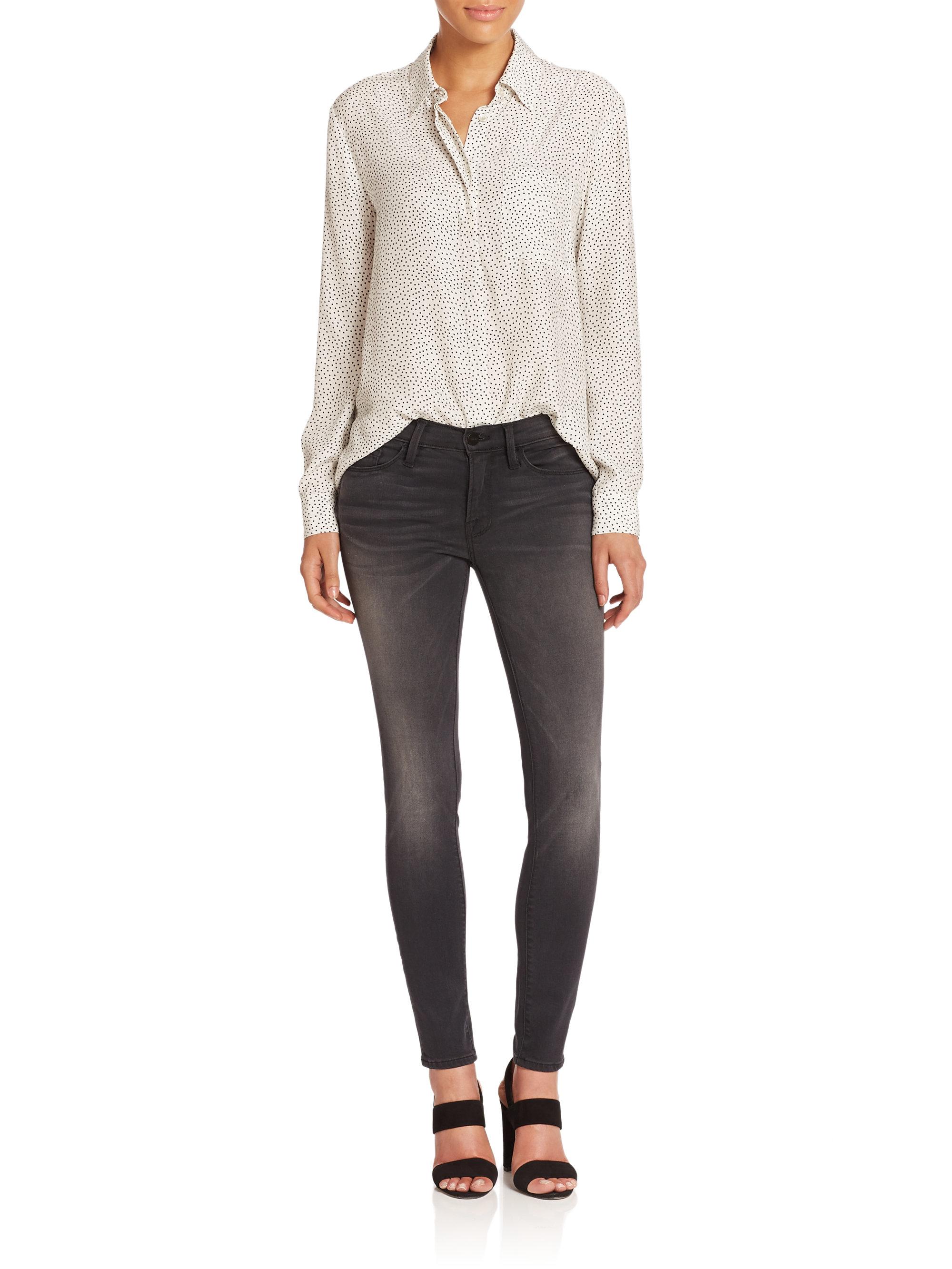 frame le skinny de jeanne jeans in gray lyst gallery