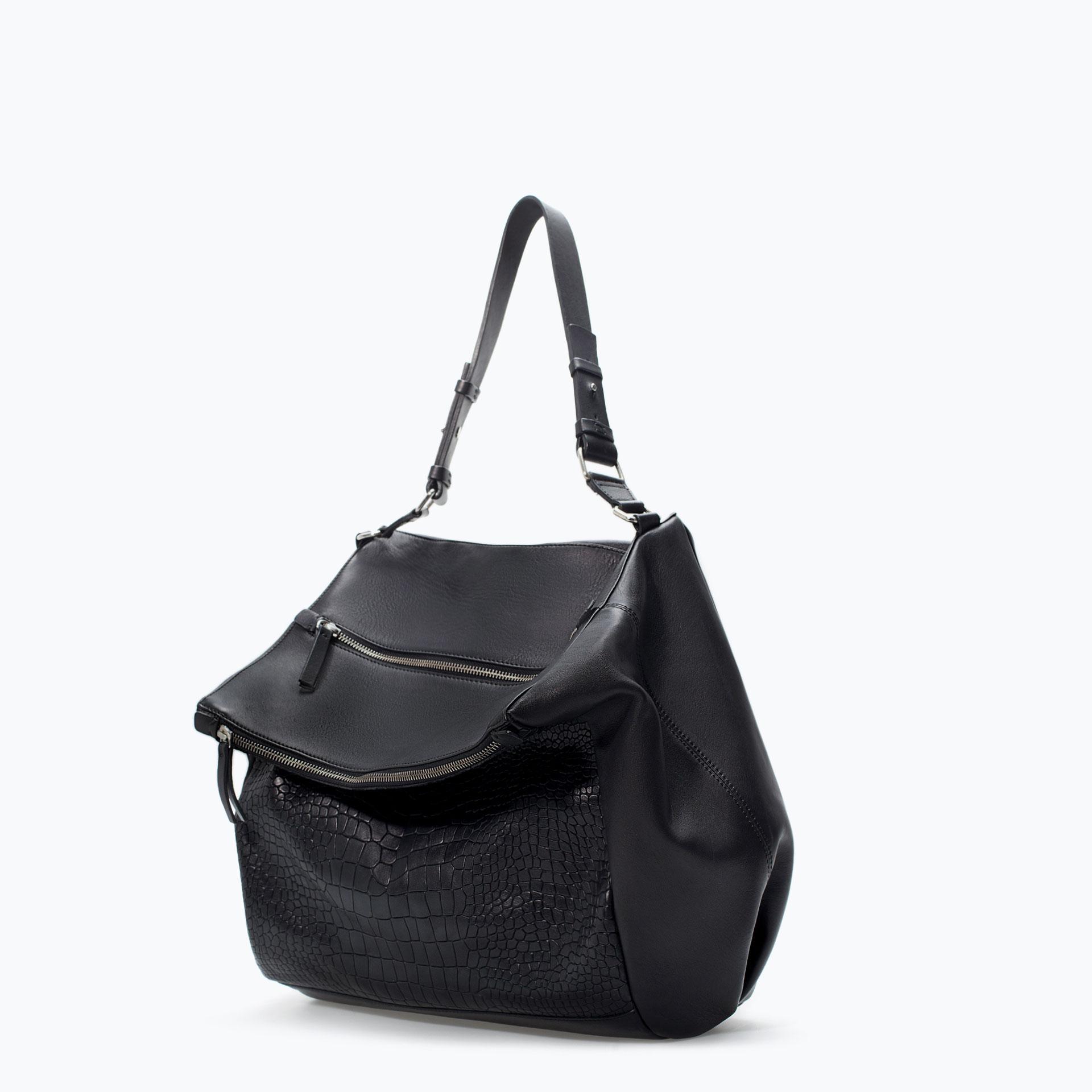 1f8a5a8eee Zara Zip Applique Leather Bucket Bag in Black