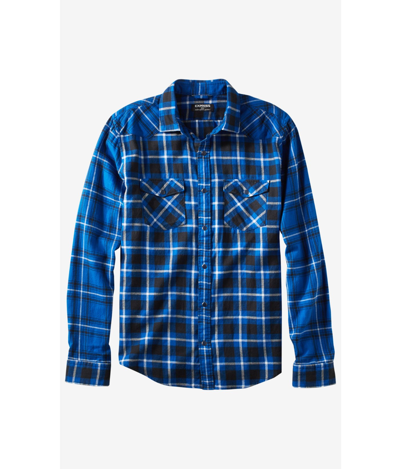 Express Flannel Contrast Plaid Shirt In Blue For Men Lyst