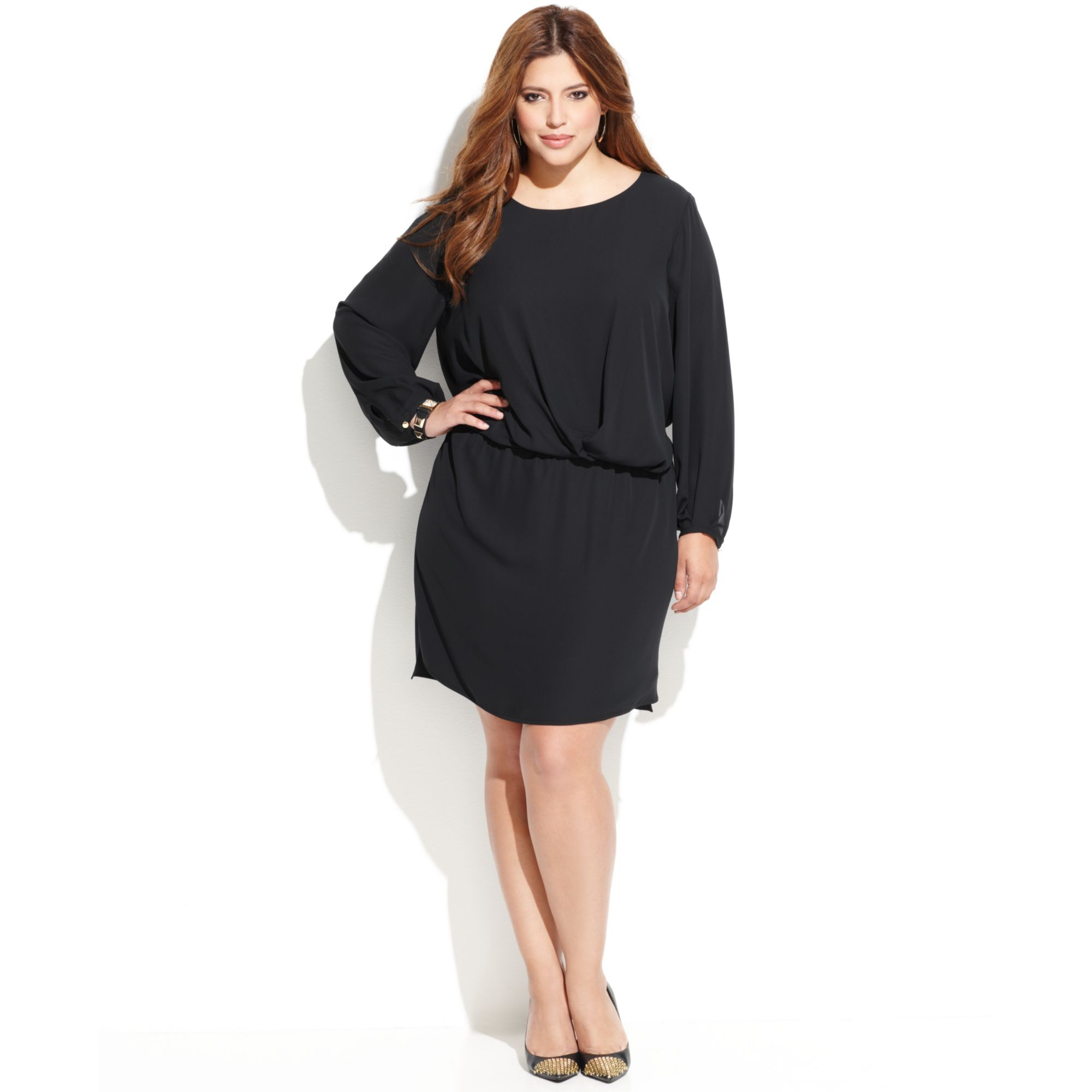 Lyst Vince Camuto Plus Size Longsleeve Blouson Dress In Black