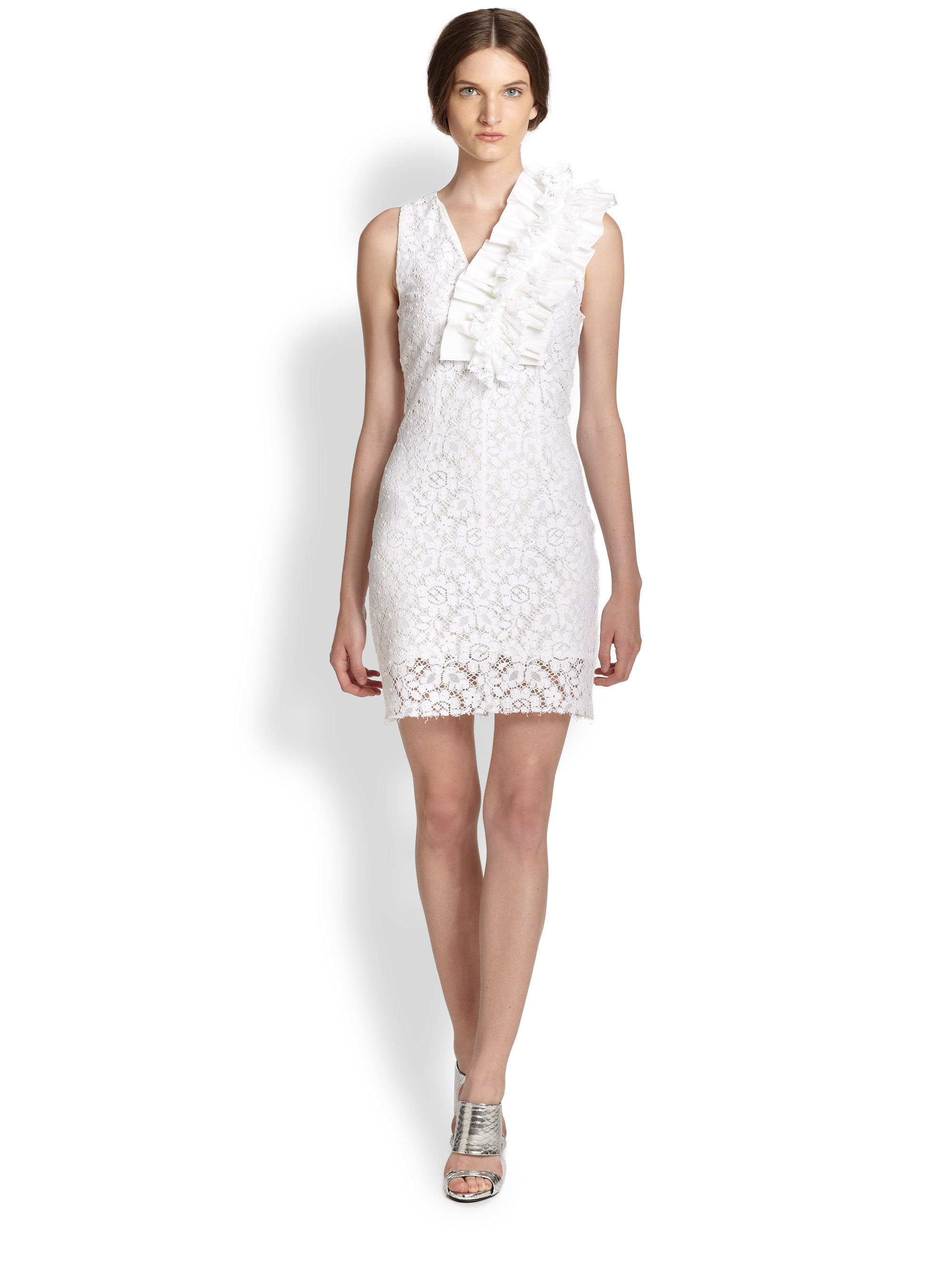 Lyst Msgm Ruffle Detail Lace Dress In White
