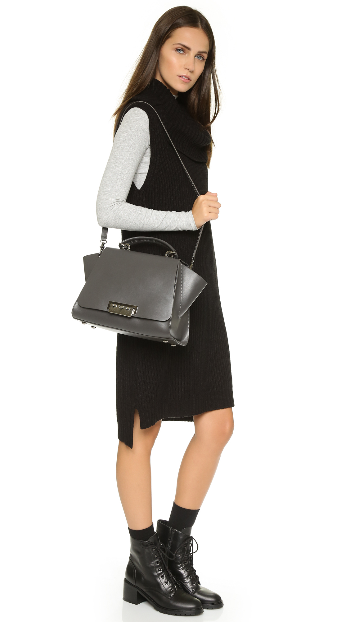 Zac Zac Posen Eartha Iconic Soft Top Handle Bag Charcoal