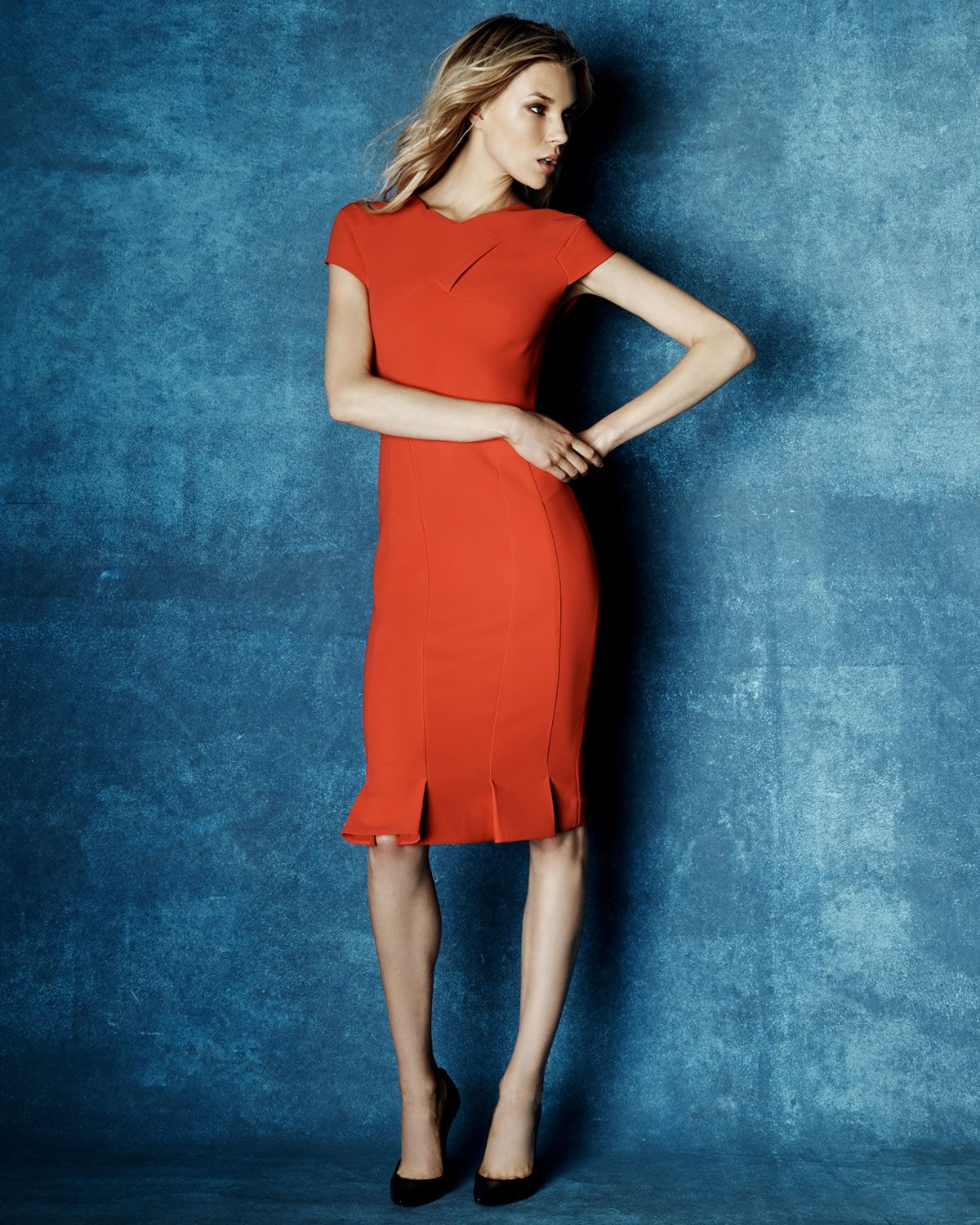 Lyst - Roland Mouret Cap-sleeve Pleated Sheath Dress in Red