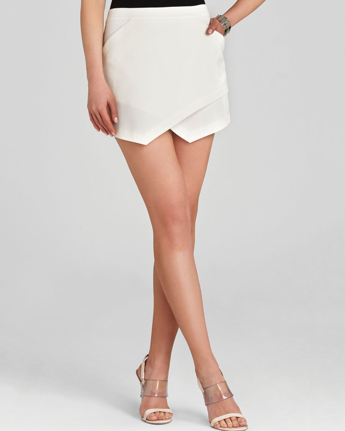 Bcbgmaxazria Bcbg Max Azria Mini Skirt Beckett Asymmetric in White ...