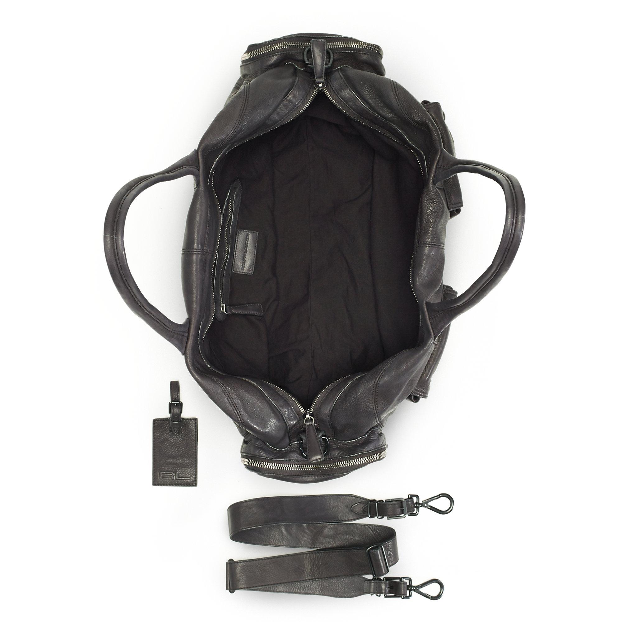7ebe083ff528 Lyst - Ralph Lauren Black Label Distressed Leather Gym Bag in Black ...