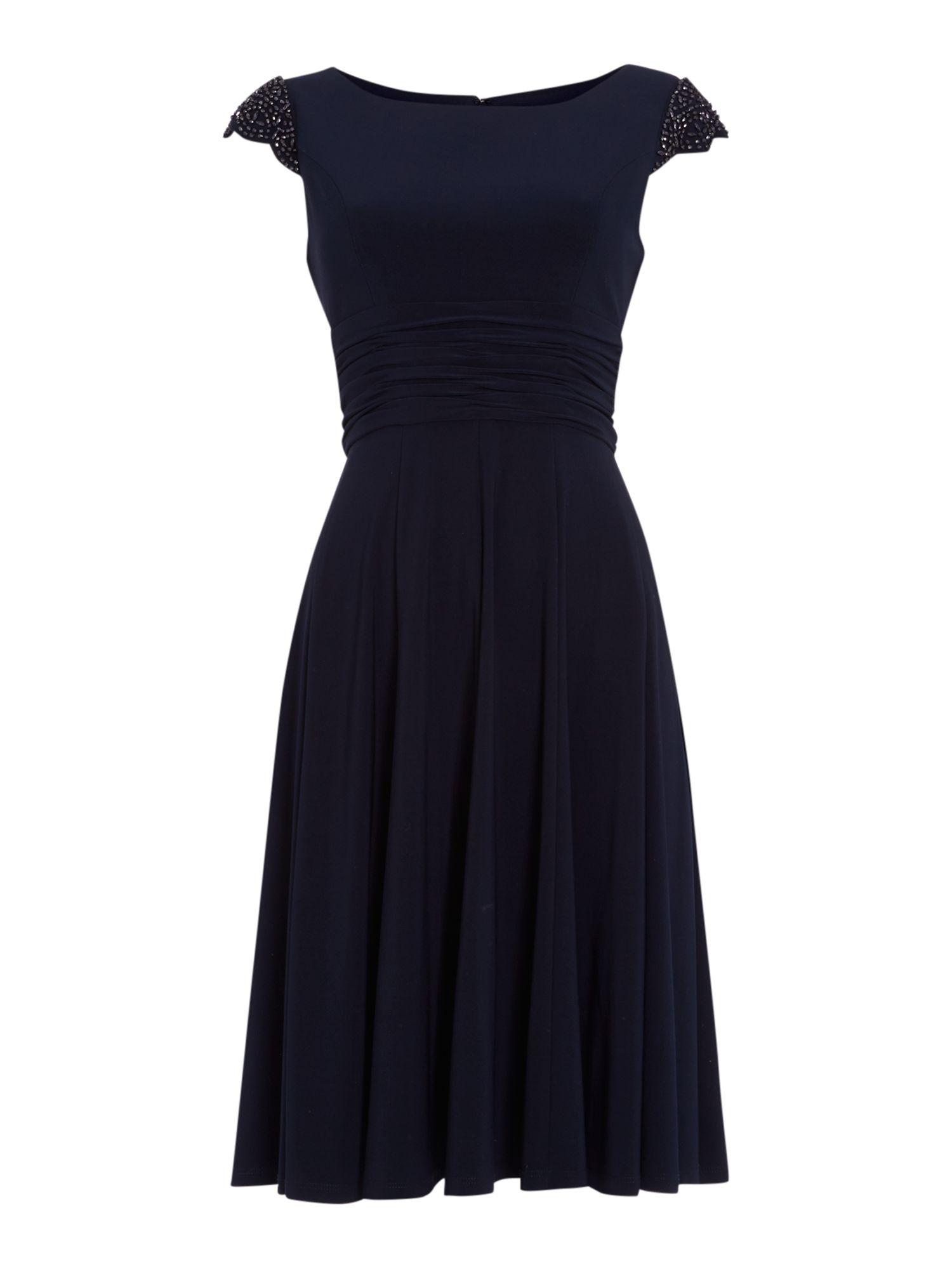 Eliza J Beaded Cap Sleeve Dress With Empire Waist In Blue