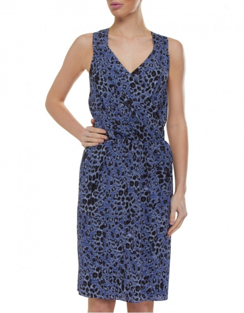 10 Crosby Derek Lam Leopard Print Silk Dress In Blue Lyst