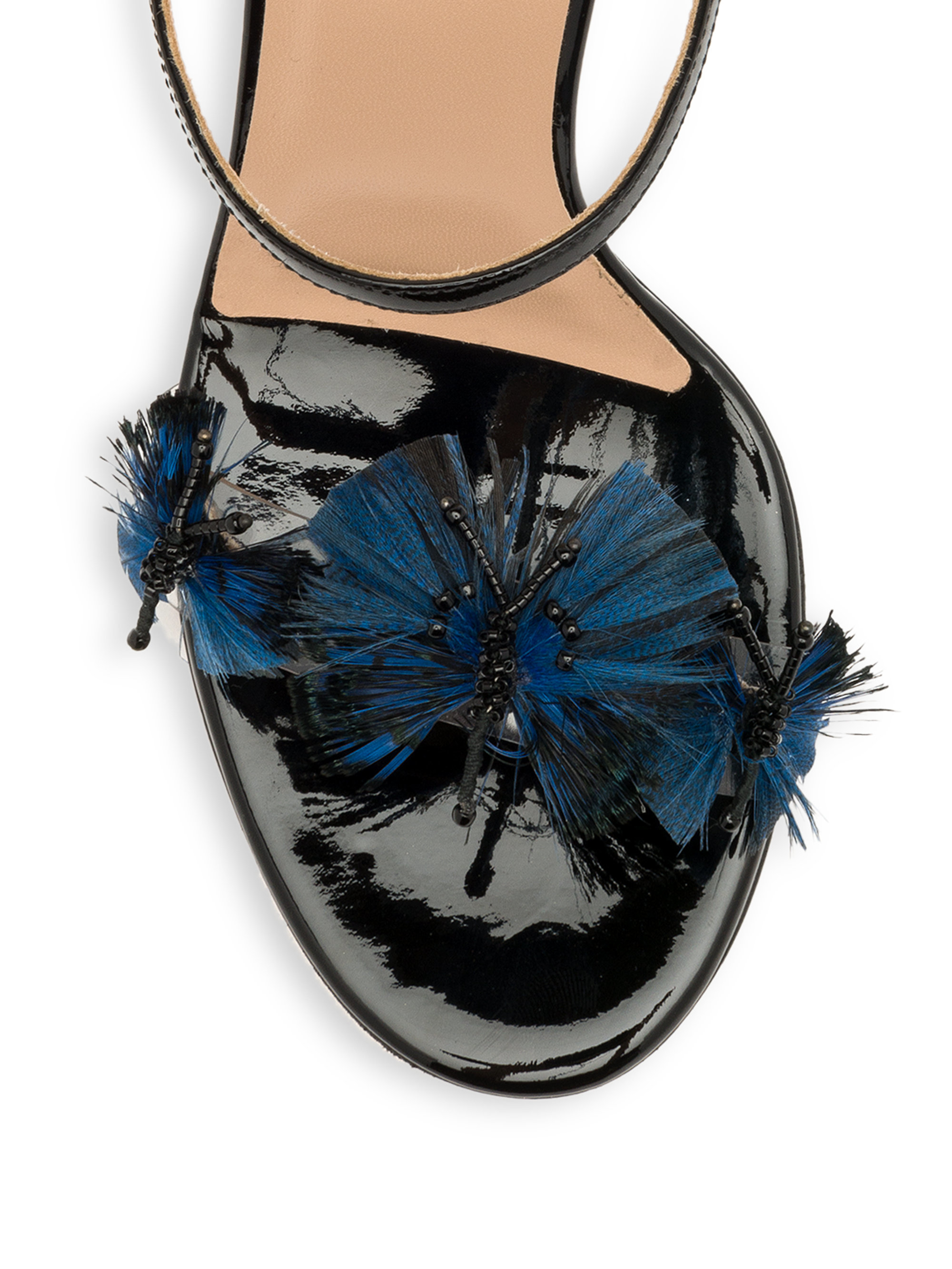 Valentino Butterfly Lucite Heel Sandals In Blue Lyst
