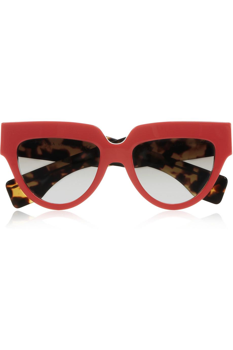 spot fake prada bag - Prada Cat Eye Acetate Sunglasses in Red | Lyst