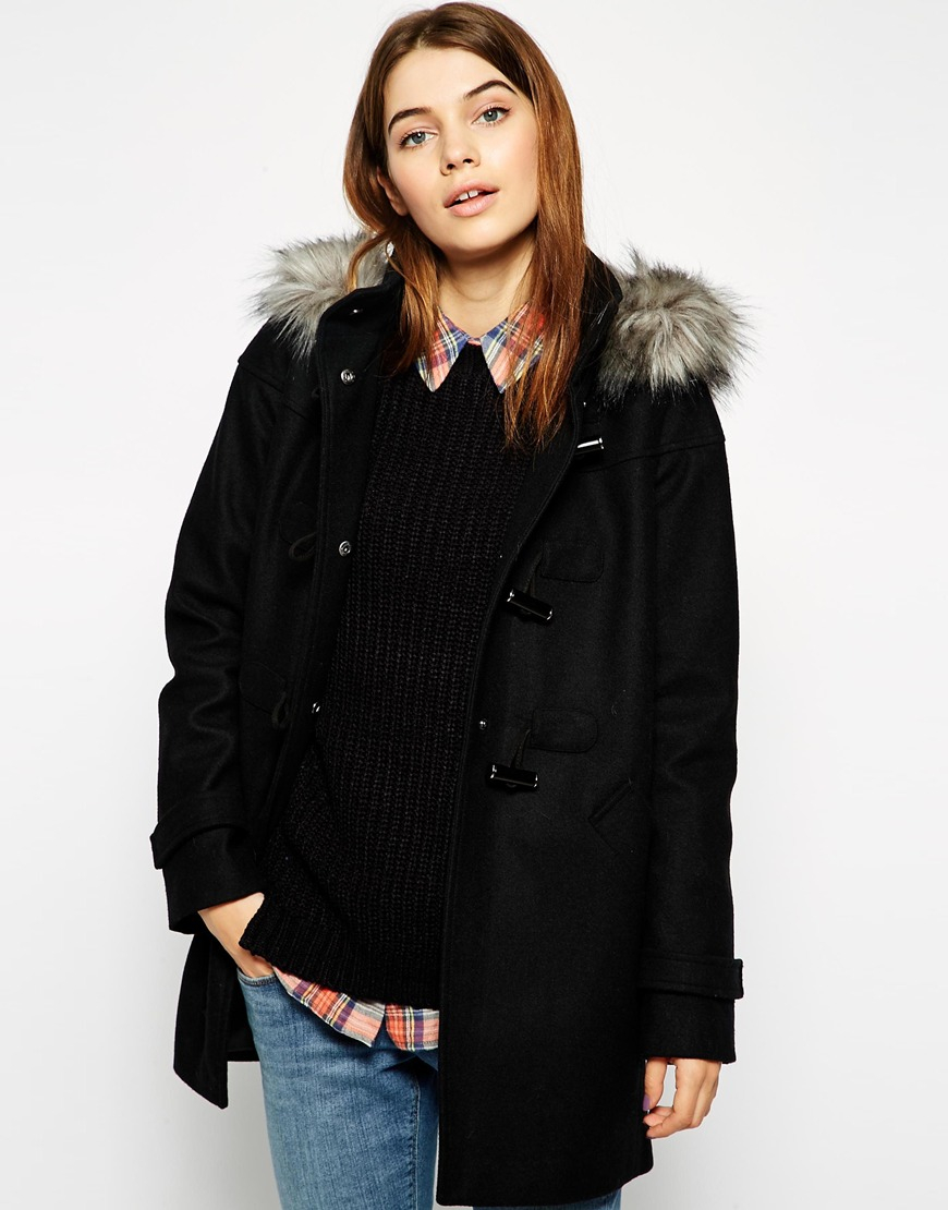 Asos Duffle Coat With Clean Detail Faux Fur Hood in Black | Lyst