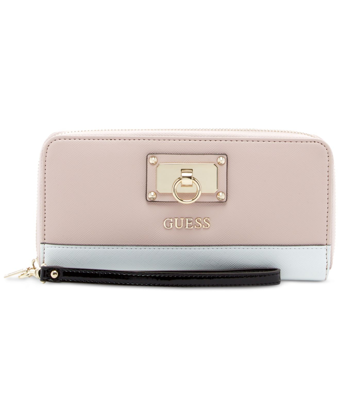 Lyst Guess Fet Me Not Large Zip Around Wallet In Pink