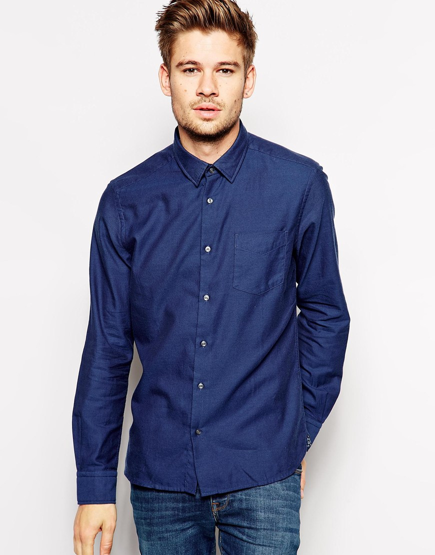 Esprit Indigo Brushed Twill Shirt In Slim Fit In Blue For