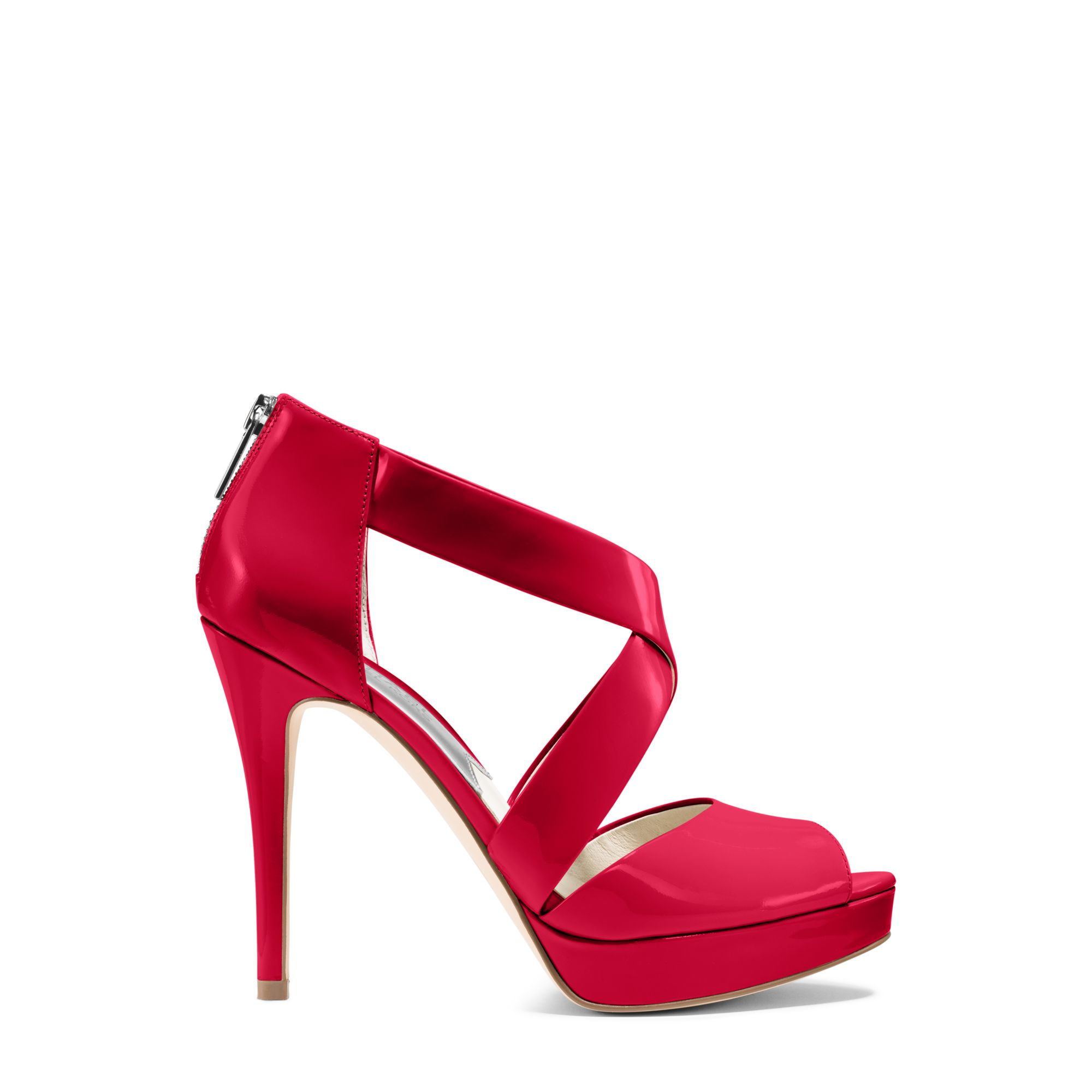 35463e87336 Lyst - Michael Kors Ariel Patent-leather Platform Sandal in Red