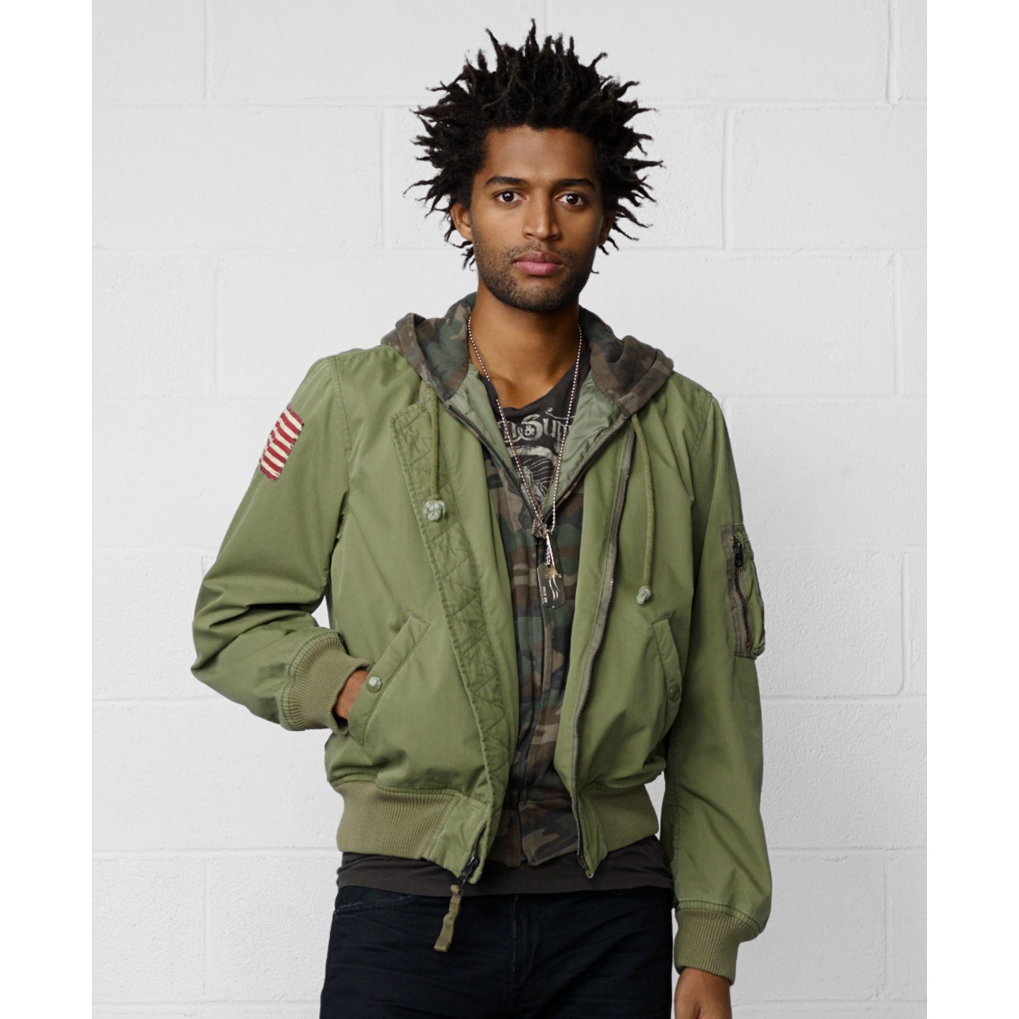 denim supply ralph lauren hooded bomber jacket in green. Black Bedroom Furniture Sets. Home Design Ideas