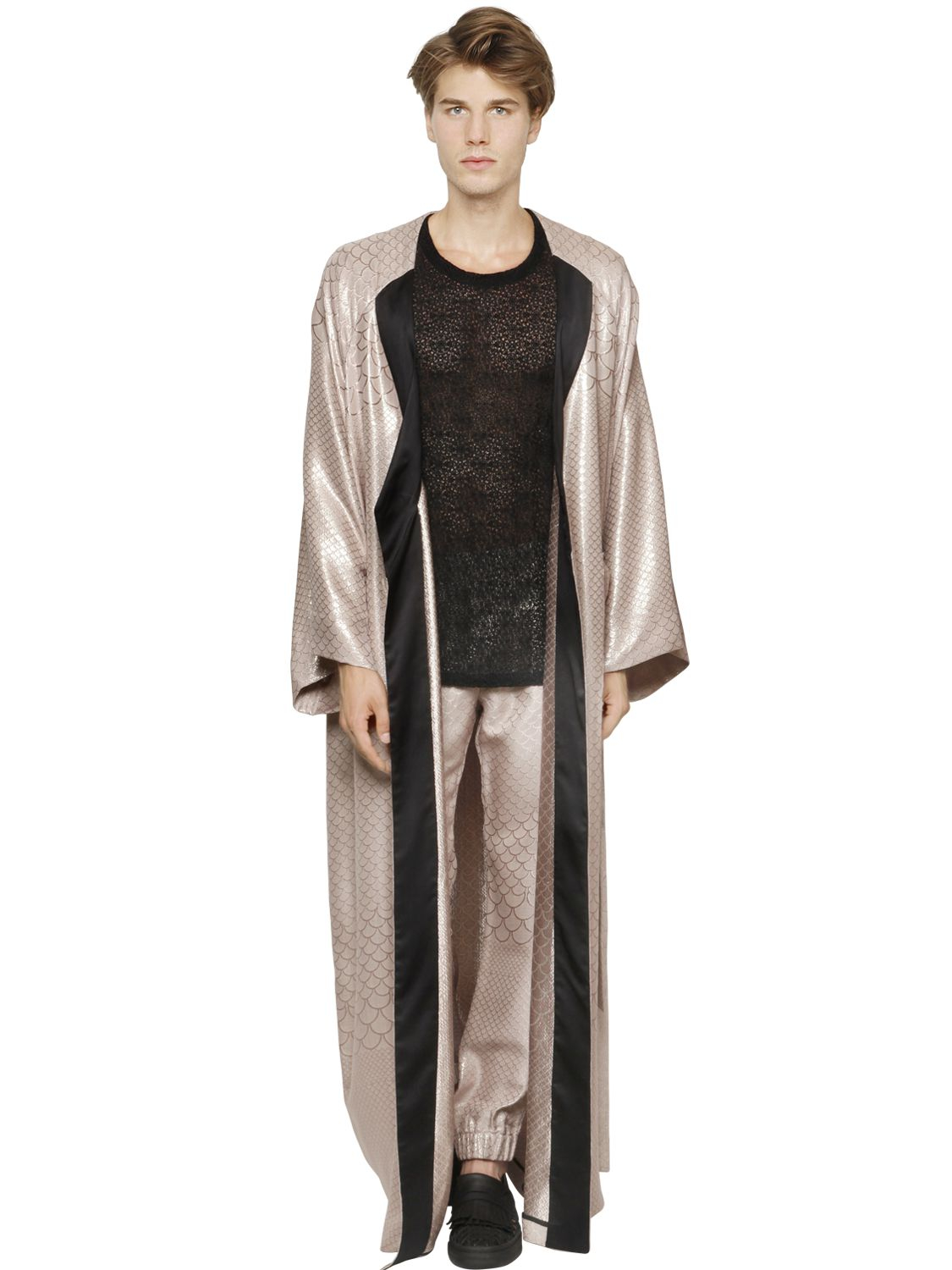 Lyst La Perla Silk Blend Jacquard Kimono Style Robe In Pink For Men