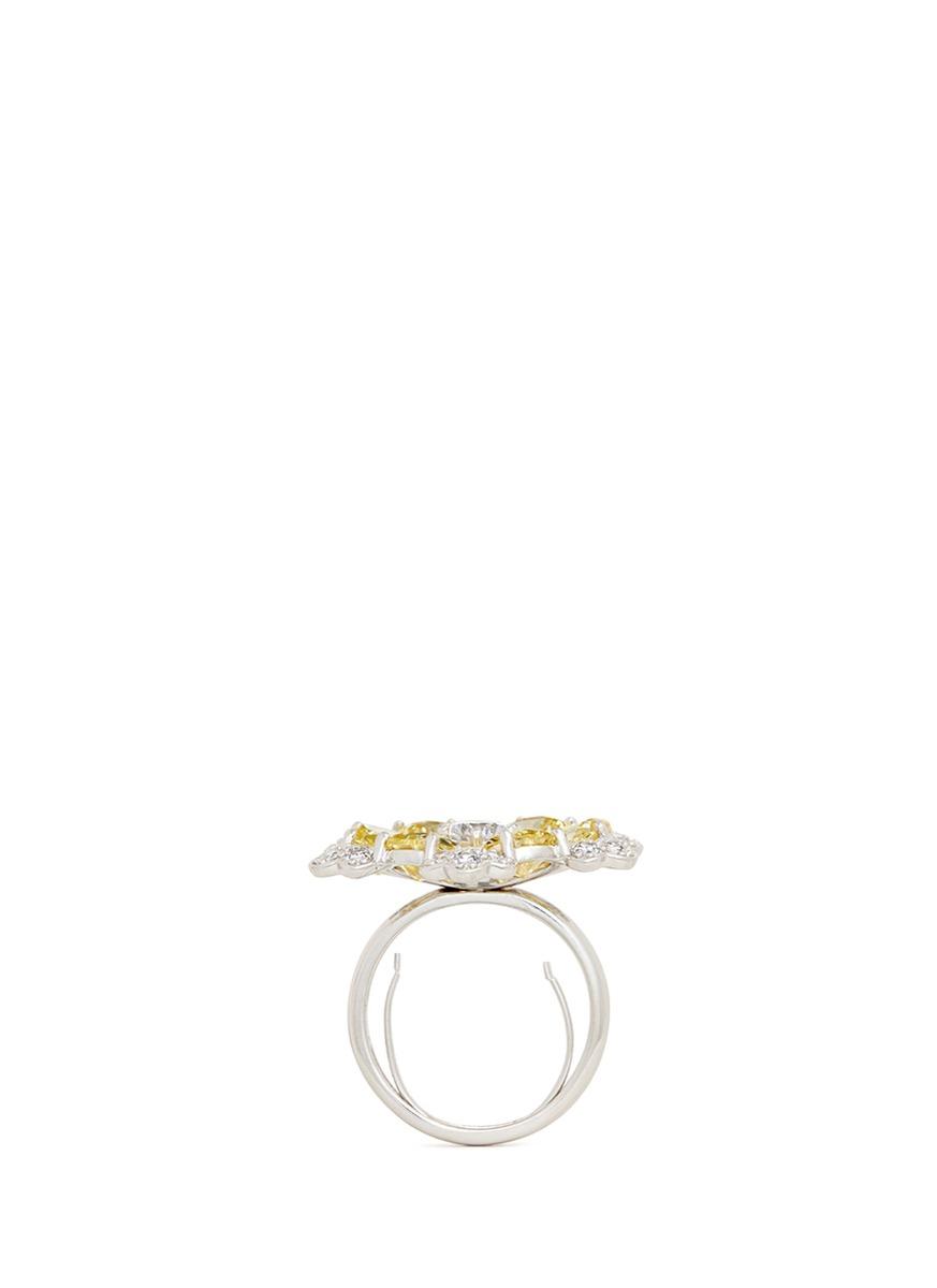 CZ by Kenneth Jay Lane Pear Cut Cubic Zirconia Flower Ring in Yellow
