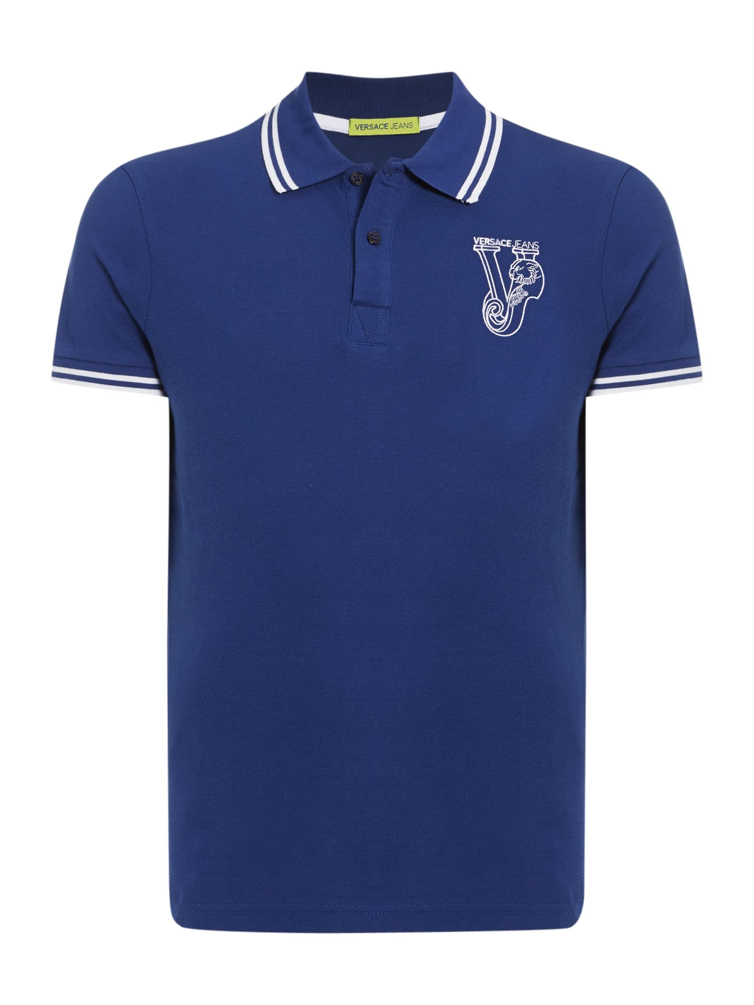 Lyst versace jeans slim fit tipped collar logo polo for Polo shirt and jeans