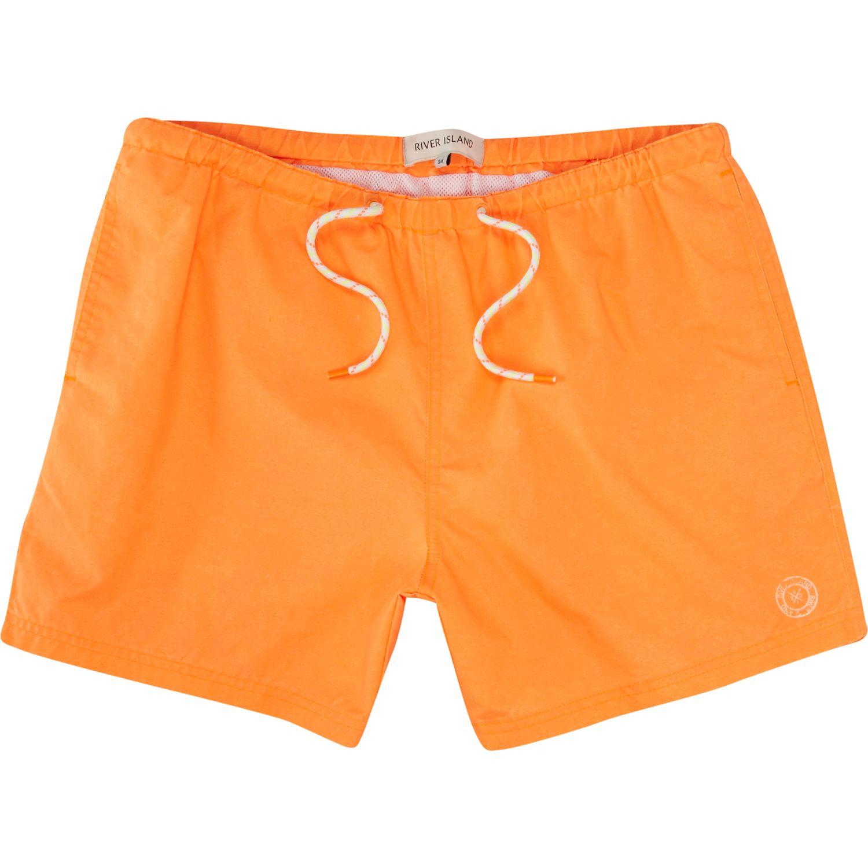 River island Neon Orange Short Swim Trunks in Orange for ...