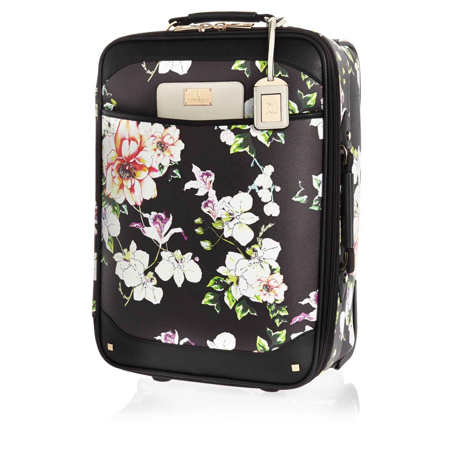 River island Black Floral Print Wheelie Suitcase in Black ...