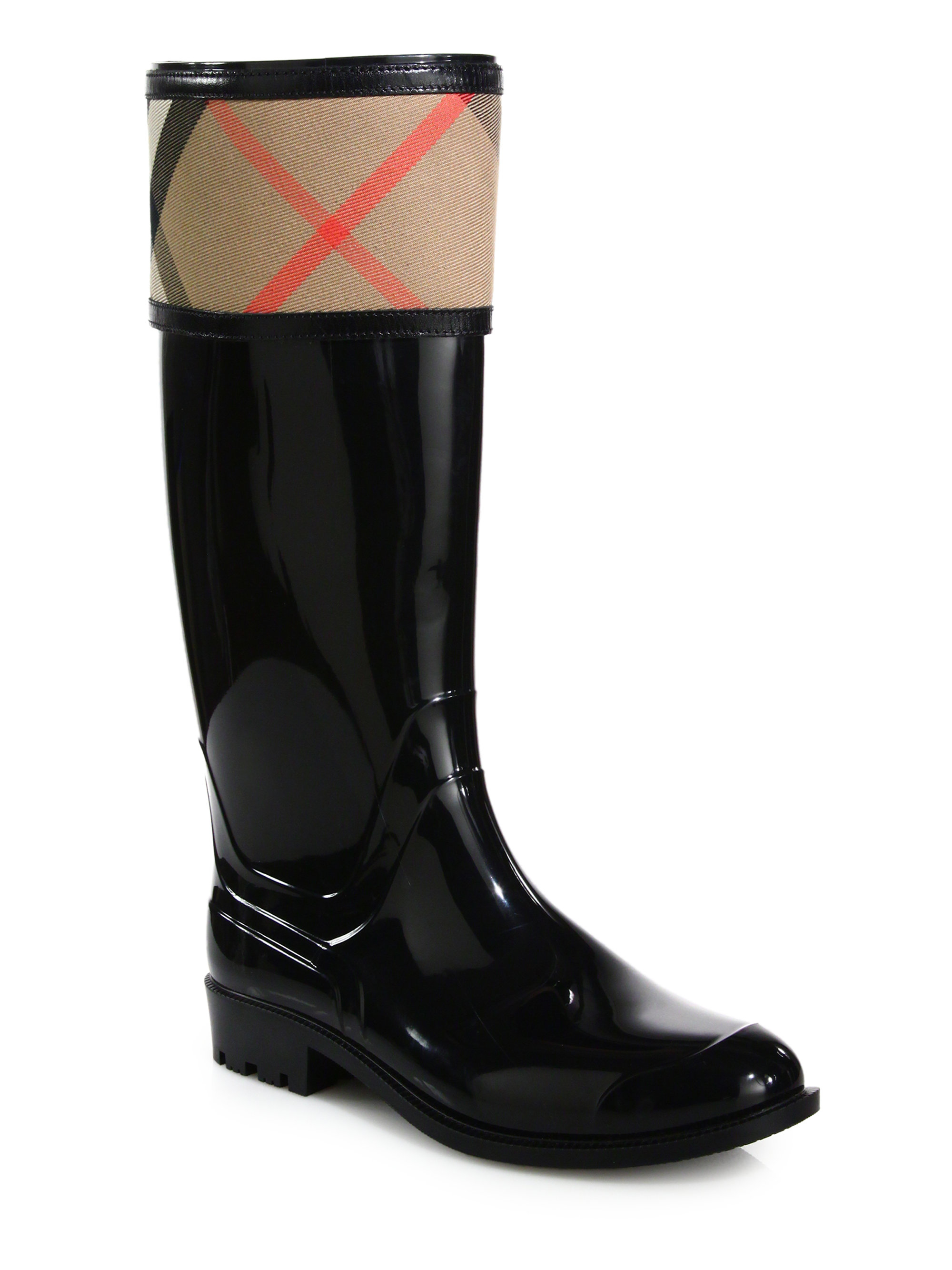 burberry crosshill check rain boots in black lyst