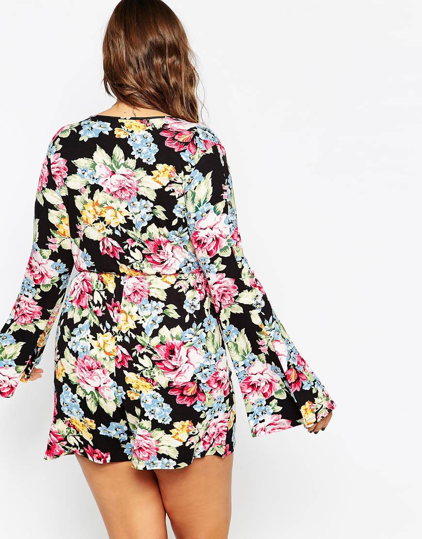 ASOS Romper In Floral Print With Bell Sleeve - Lyst