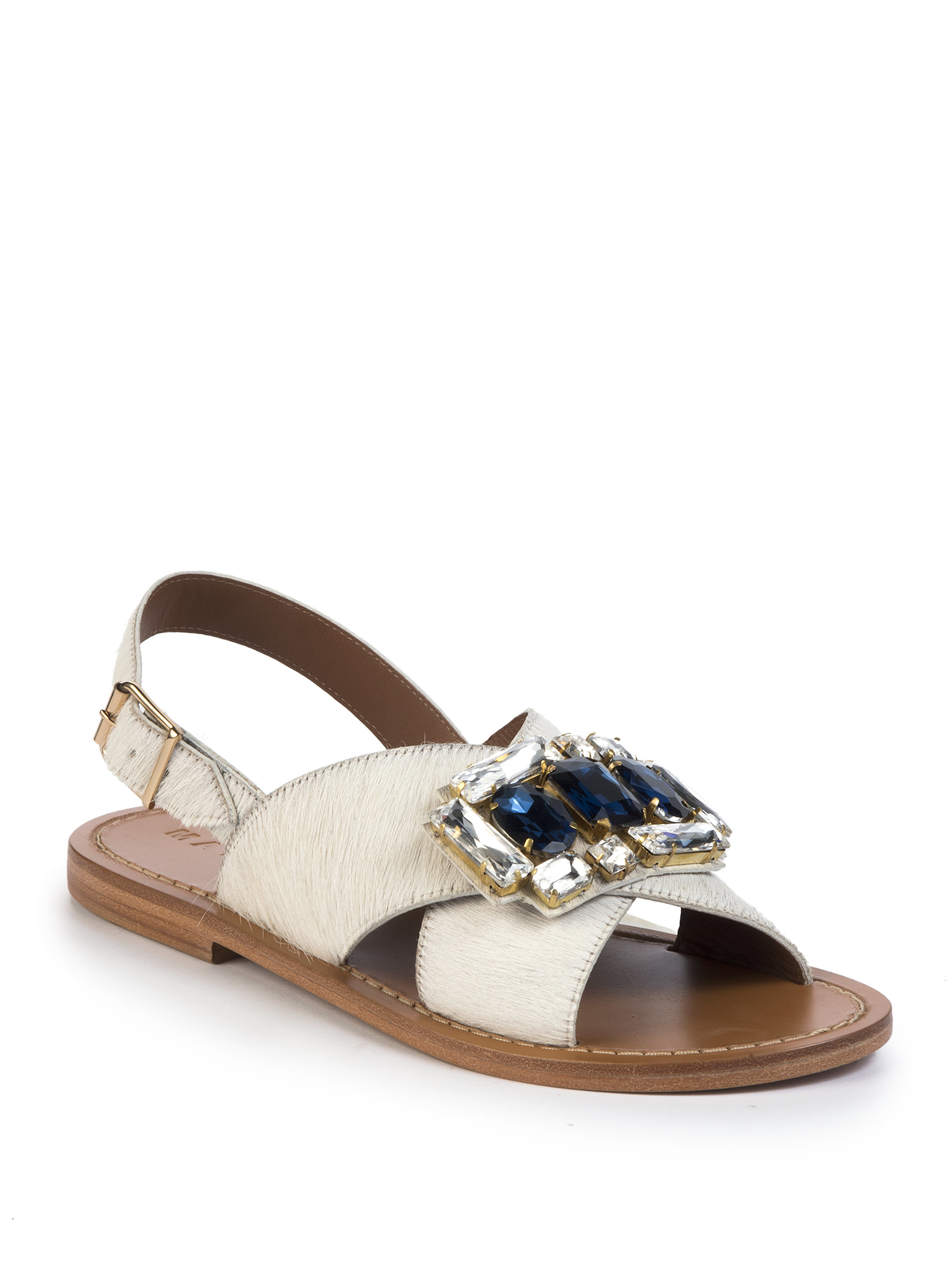 Marni Jeweled Calf Hair Crisscross Flat Sandals In White | Lyst
