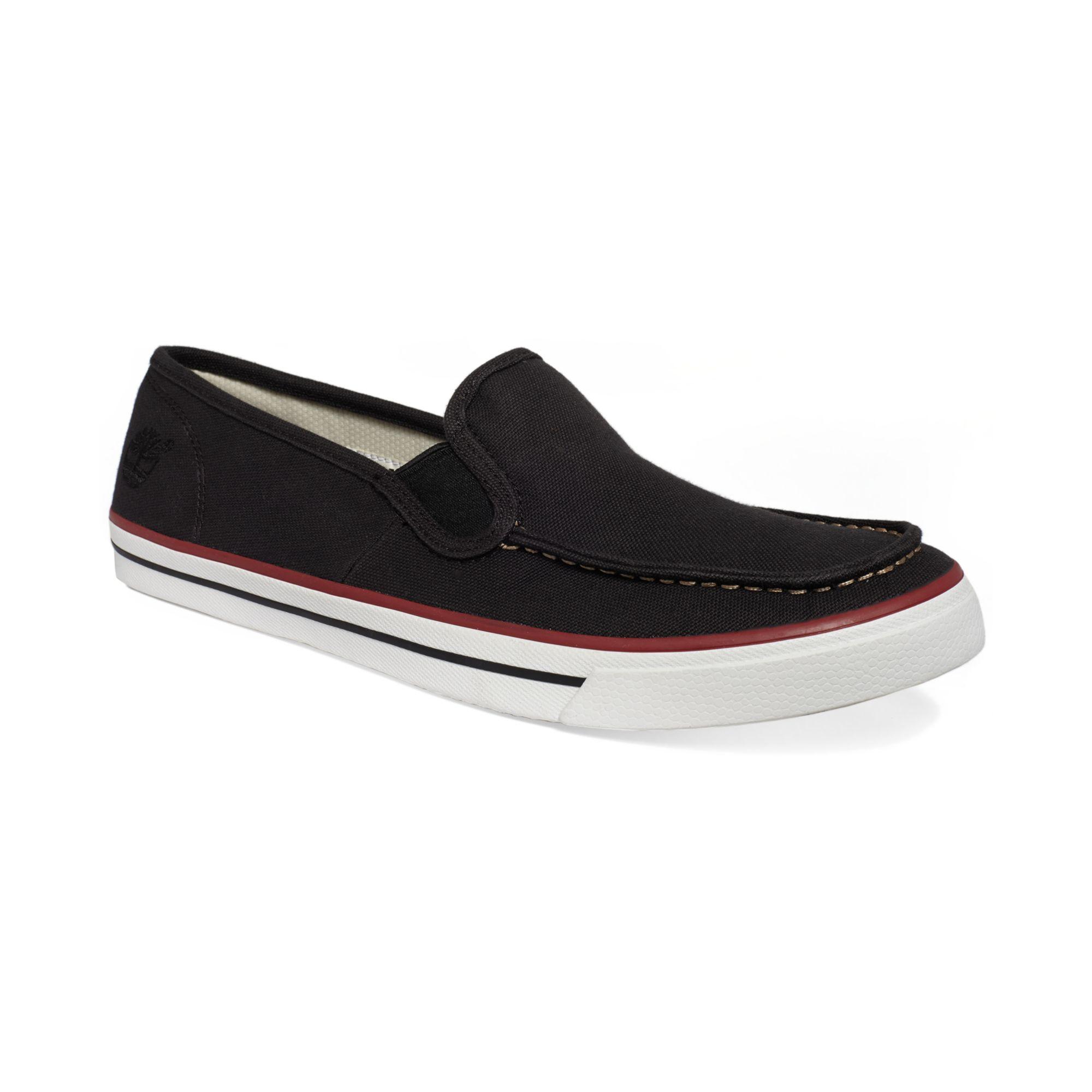 timberland hookset slipon boat shoe sneakers in black for
