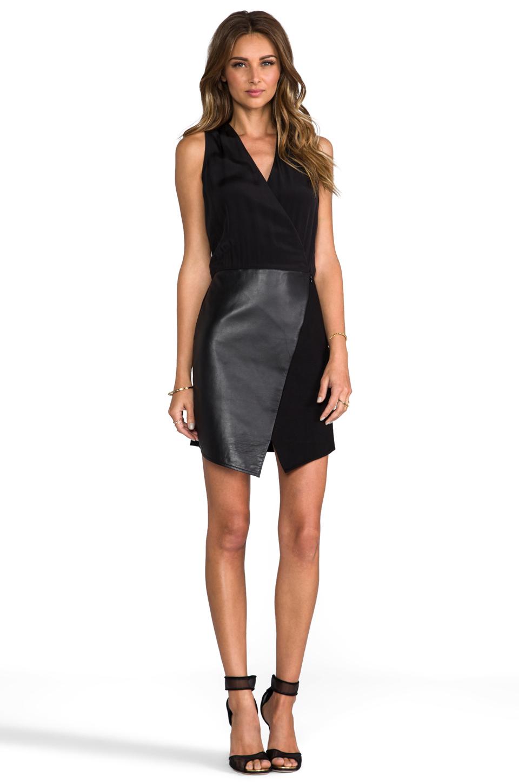 Lyst Tibi Asymmetrical Leather Wrap Dress In Black