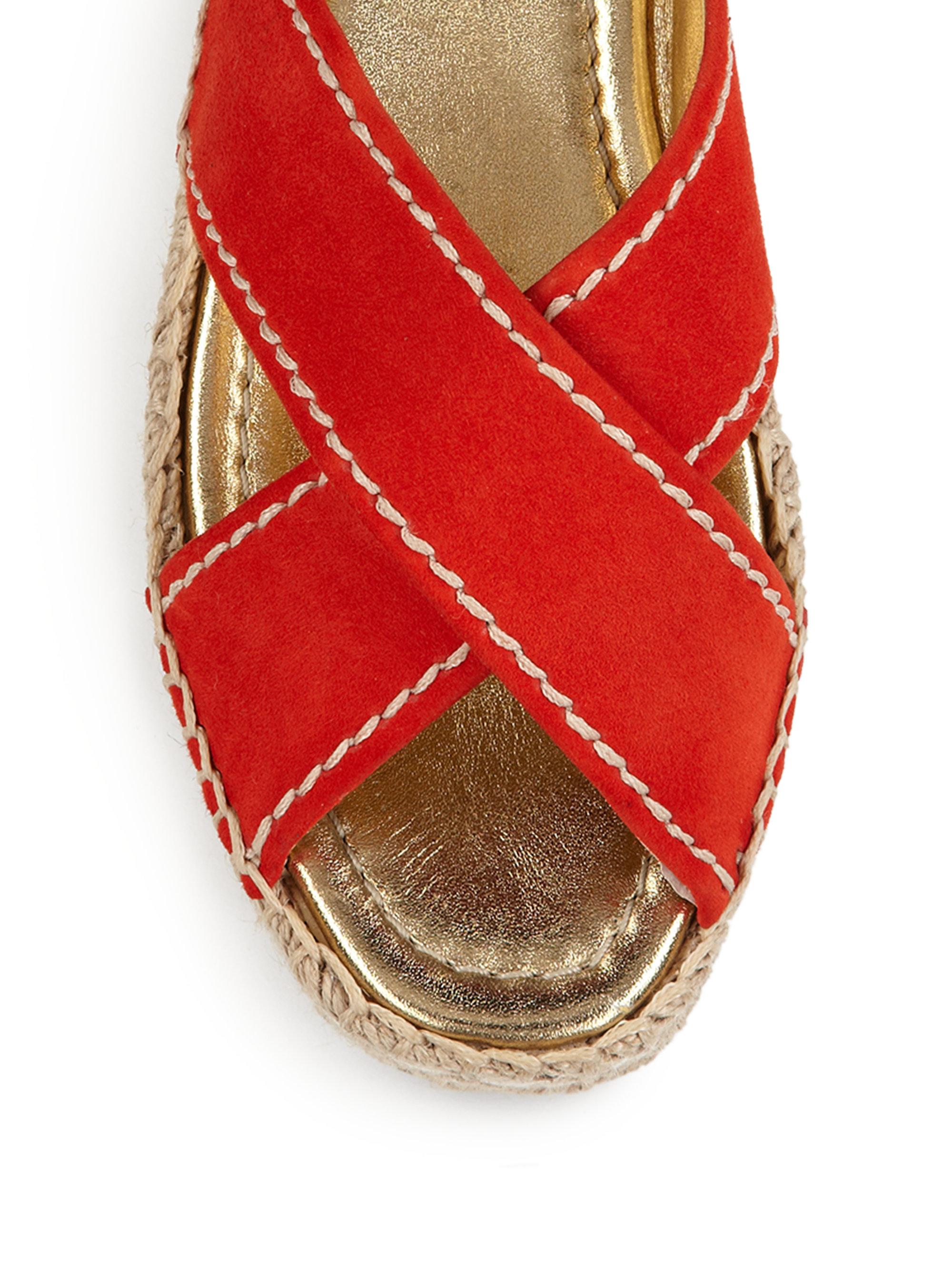c40136edf8d1 Prada Scalloped Suede Platform Sandals