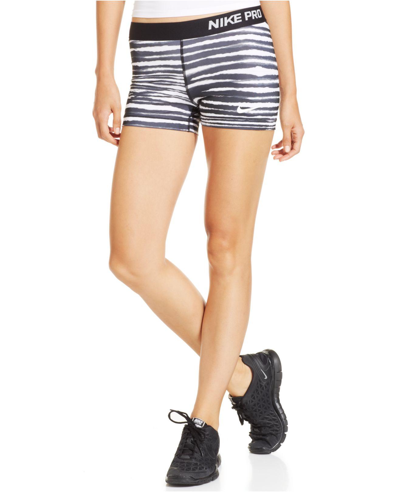 1ed61ab146 Nike Pro Tiger-Stripe Skinny Dri-Fit Shorts in Black - Lyst