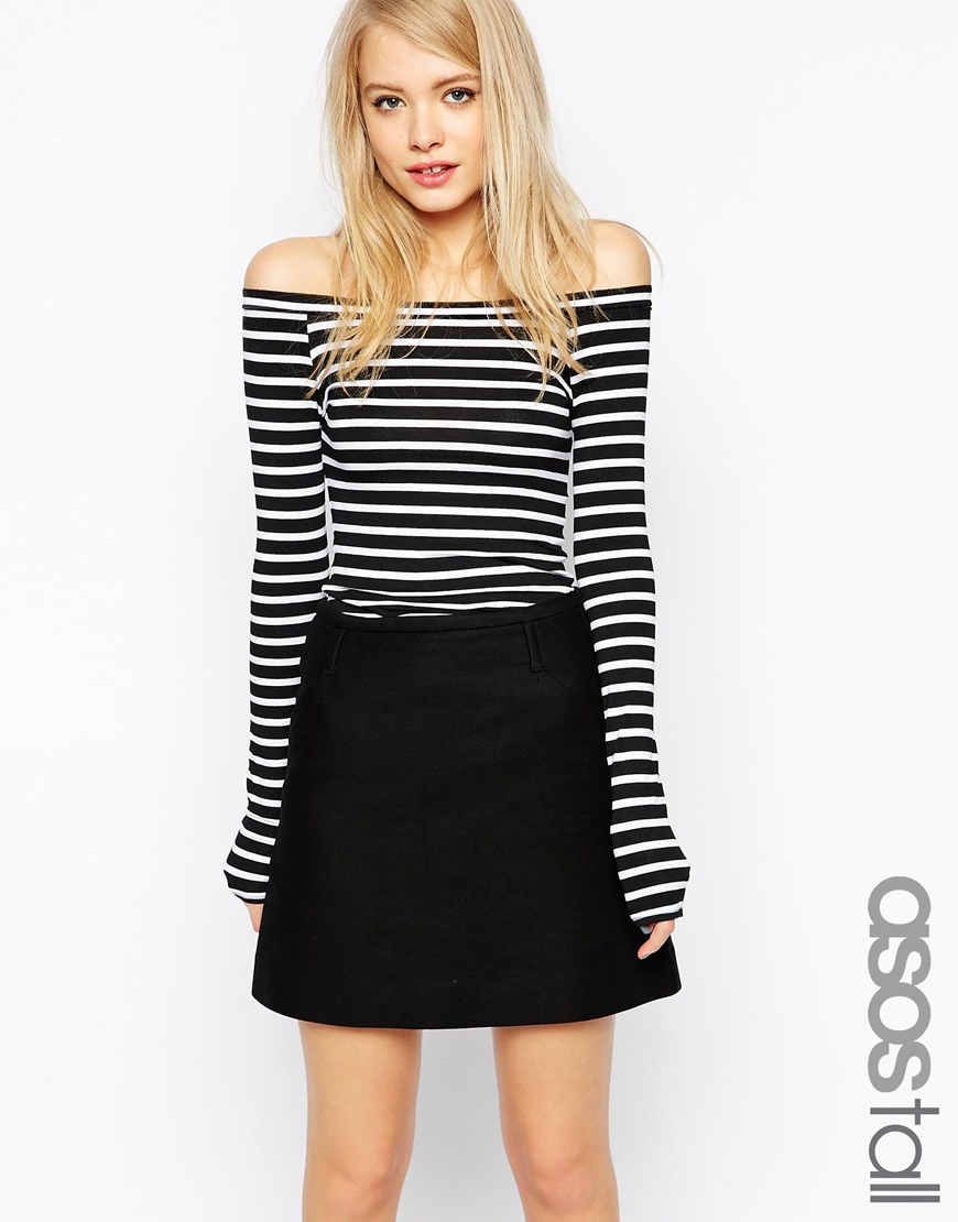 4bd35b3b54f7b Lyst - ASOS Stripe Off Shoulder Top With Long Sleeve in Black